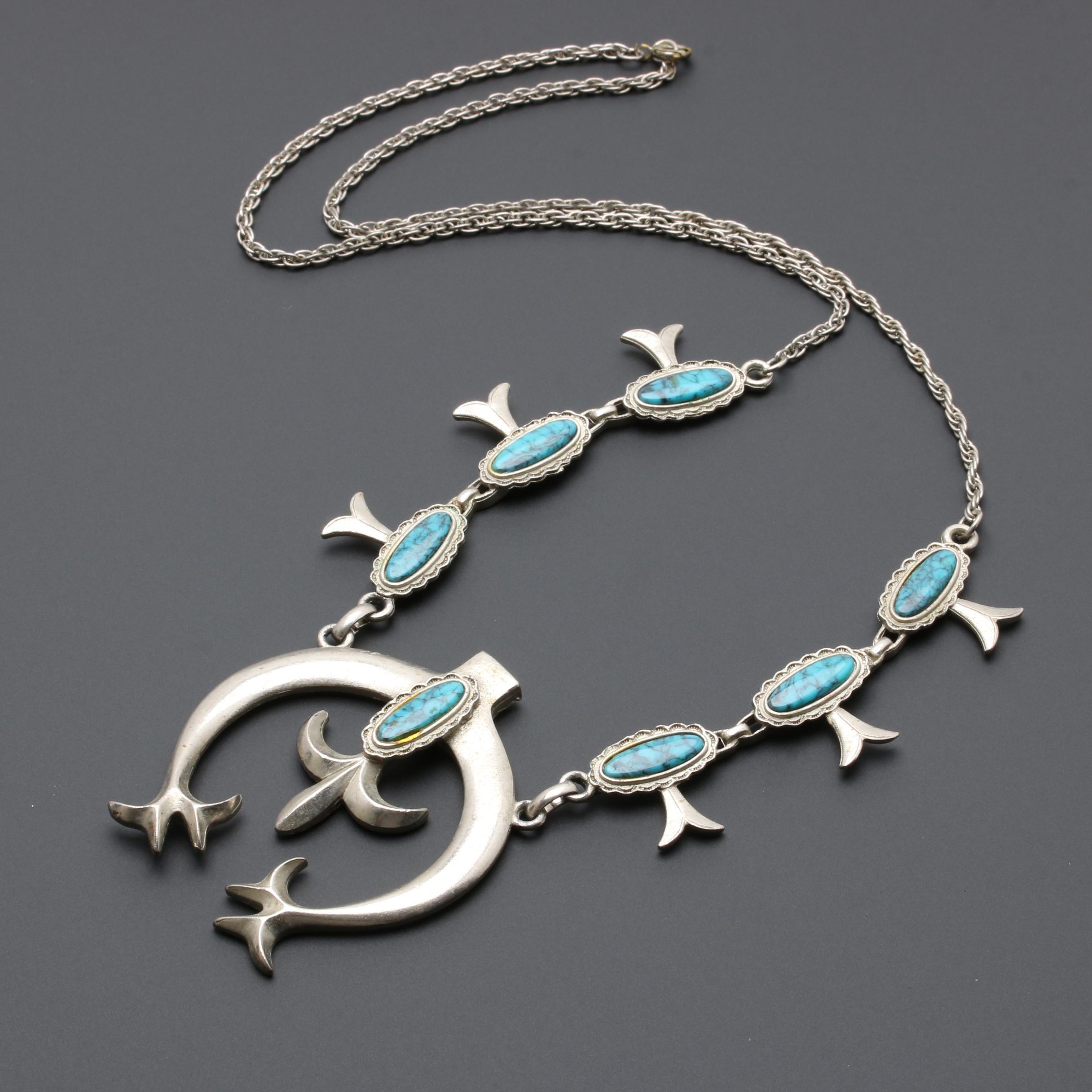 Southwestern Style Silver Tone Imitation Turquoise Squash Blossom Necklace