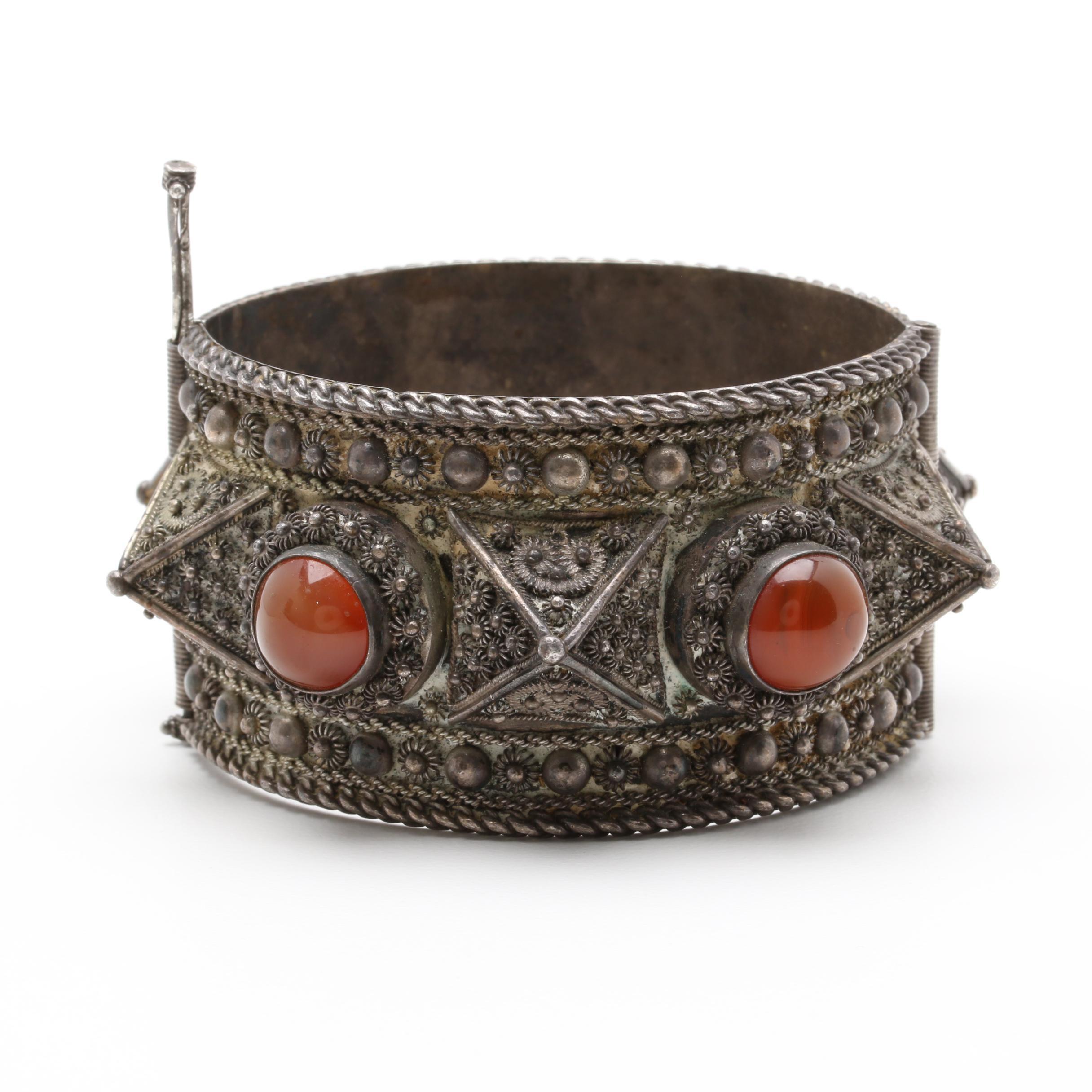 Vintage Lebanese Sterling Silver Agate Hinged Bangle Bracelet