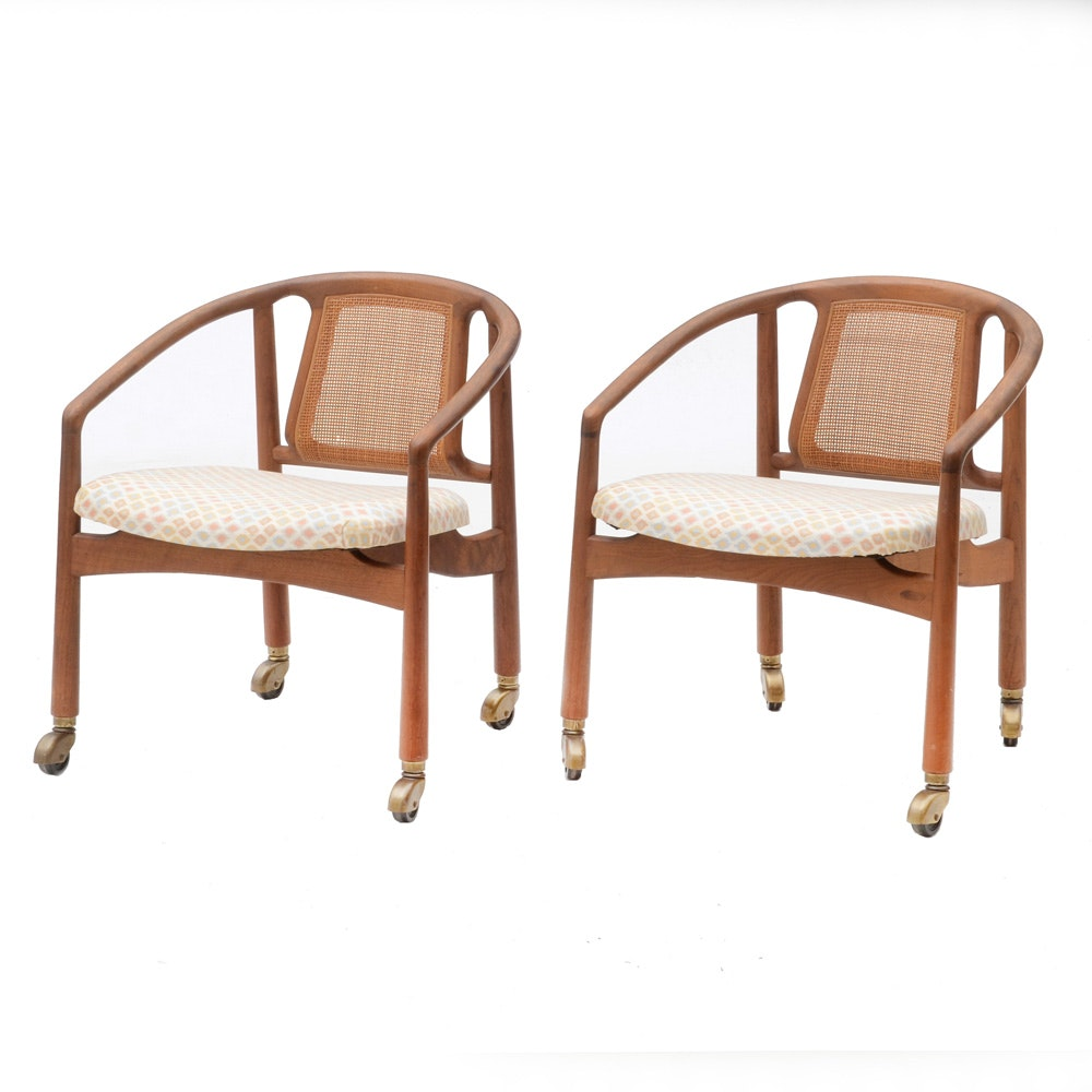 Pair of Danish Modern Teak Arm Chairs on Casters