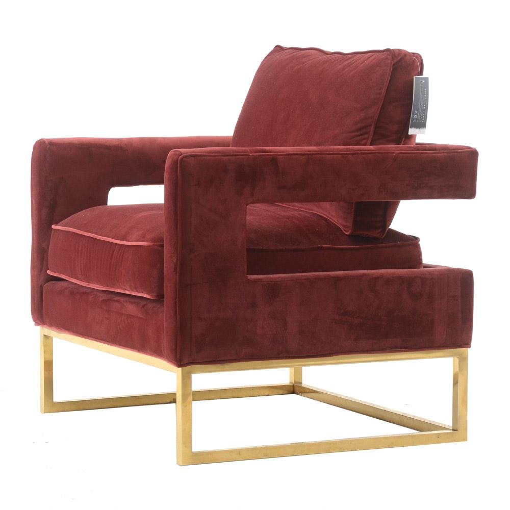 TOV Burgundy Velvet Armchair