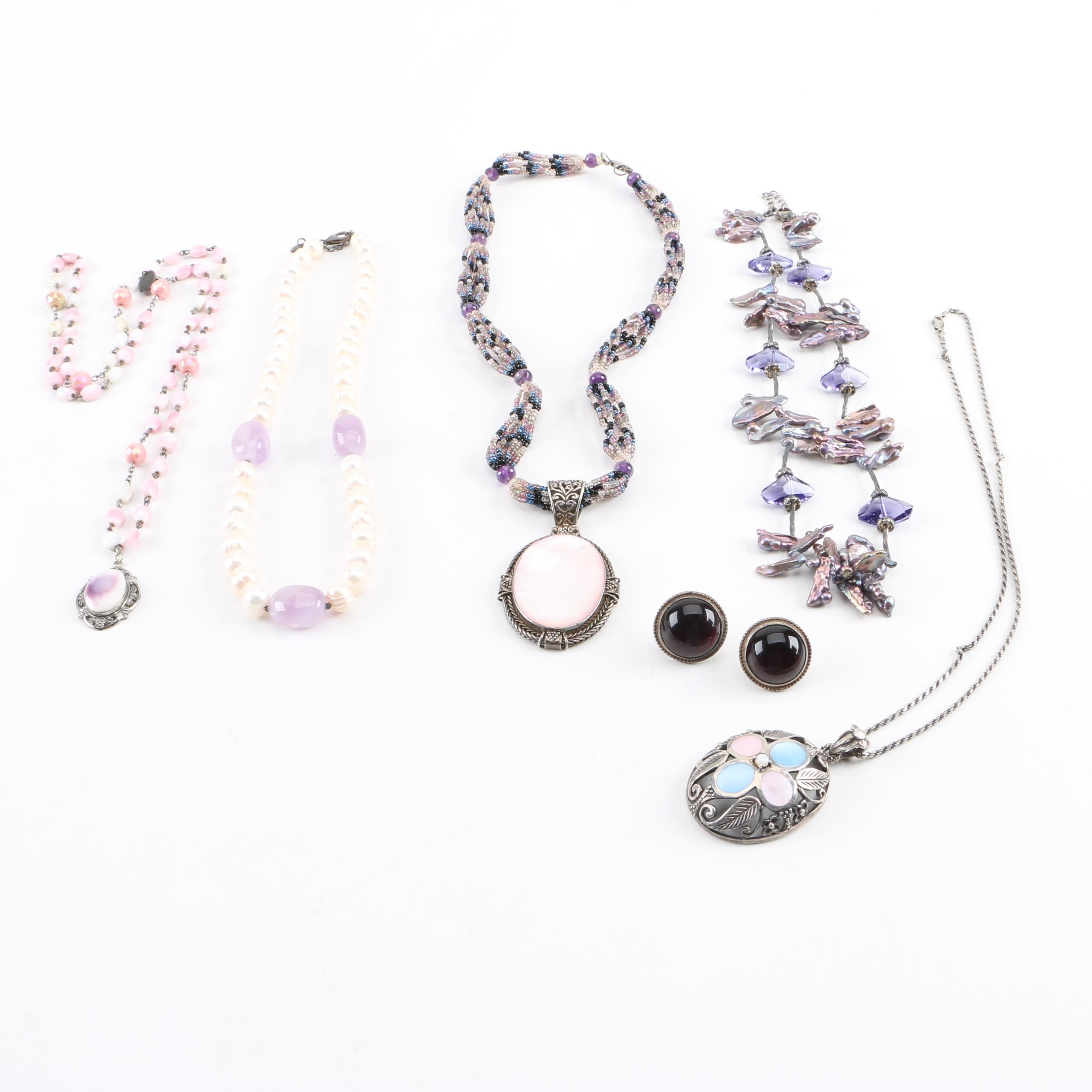 Sterling Silver Necklace and Earring Selection with Cultured Pearl and Amethyst