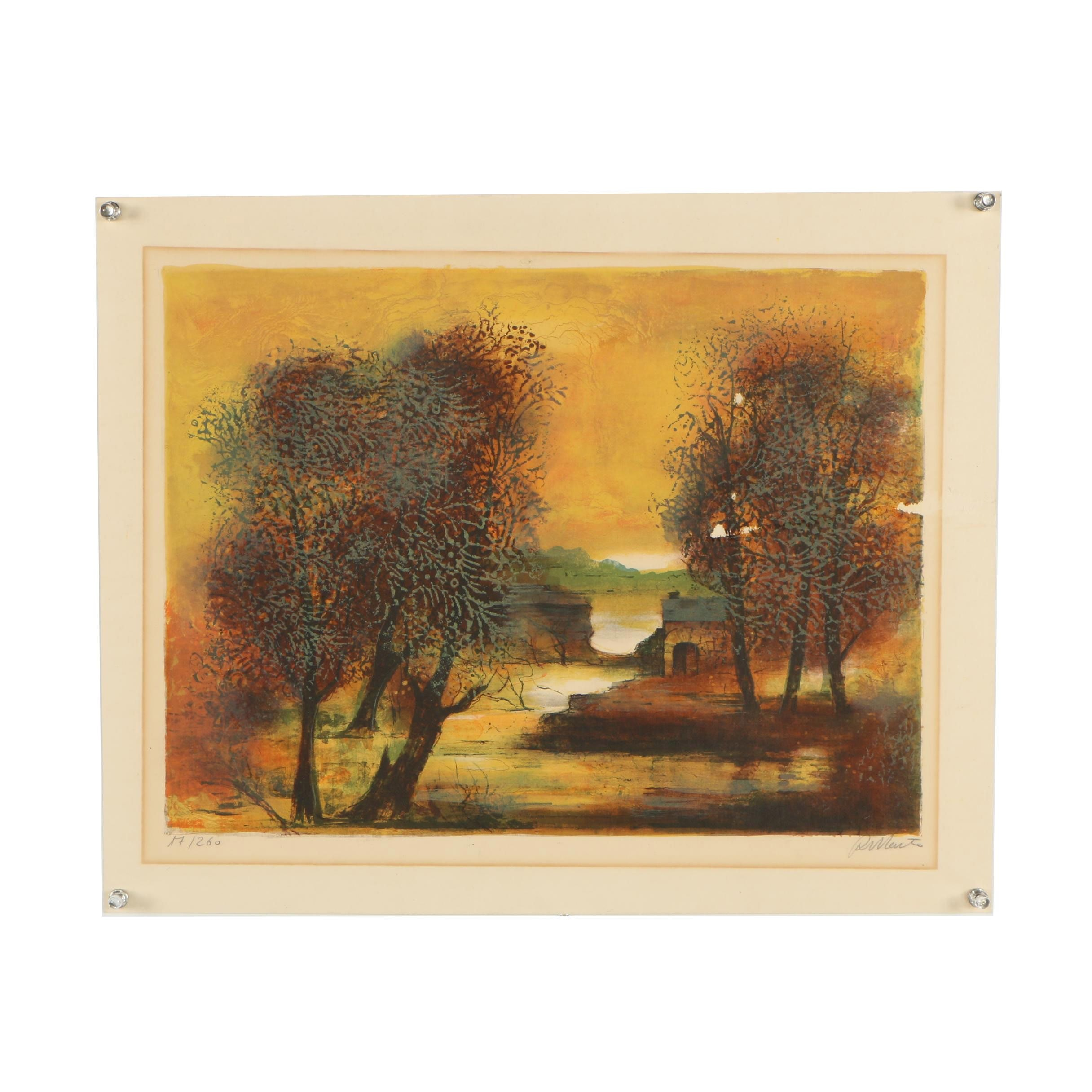 Colored Lithograph Depicting Vibrant Autumnal Trees
