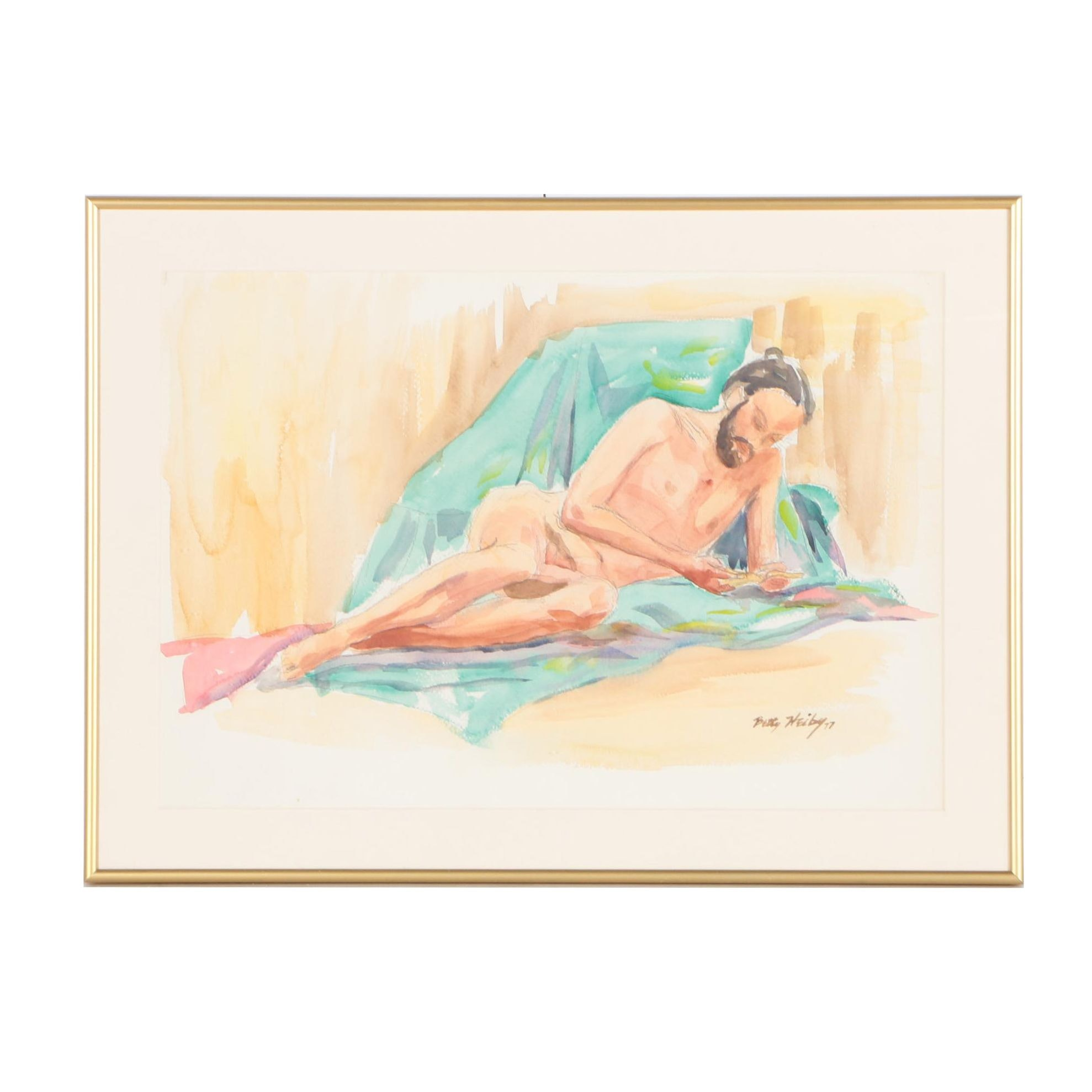 Betty Heiby Watercolor and Graphite Nude Study