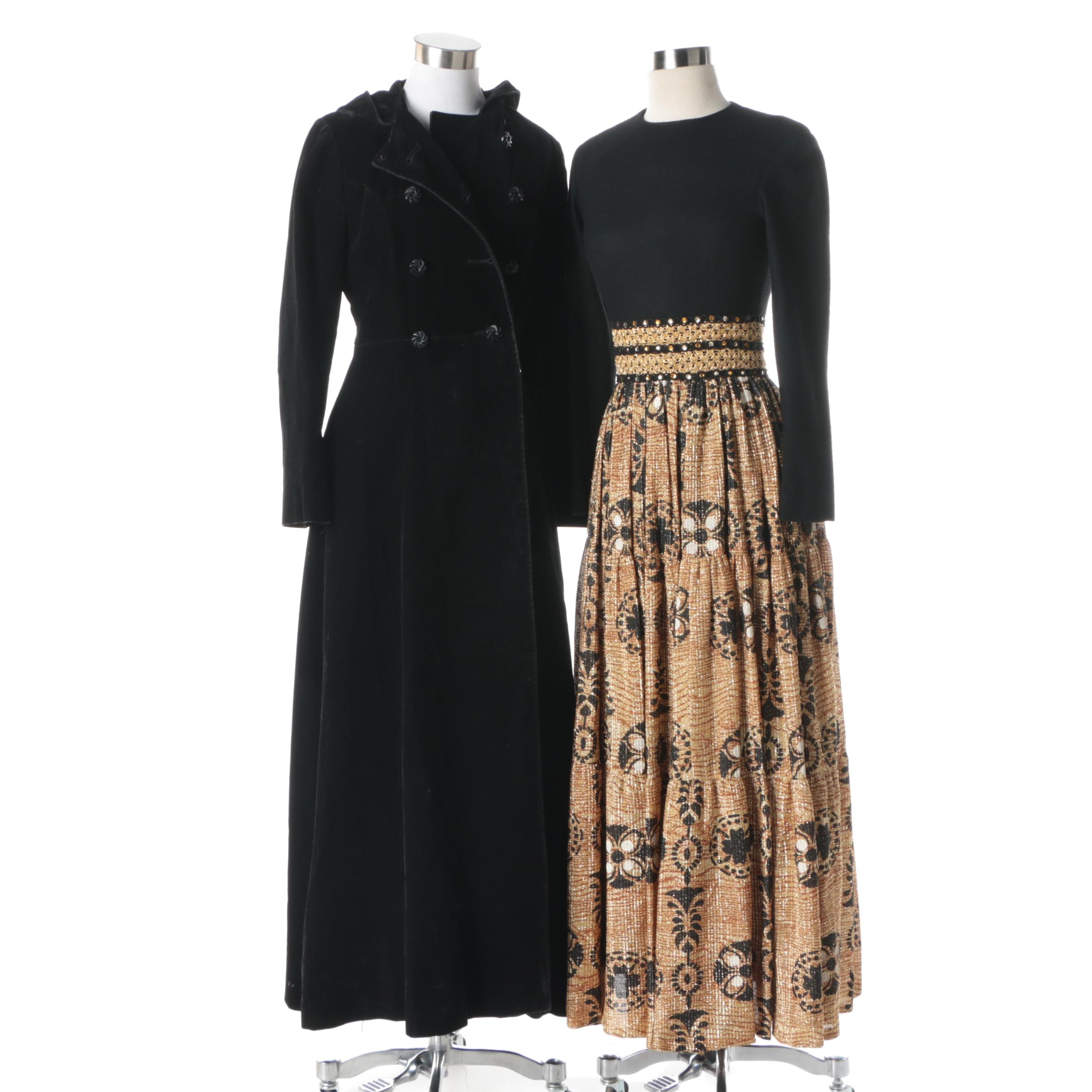 Vintage Black Velvet Hooded Full-Length Coat and Metallic Gold Maxi Dress