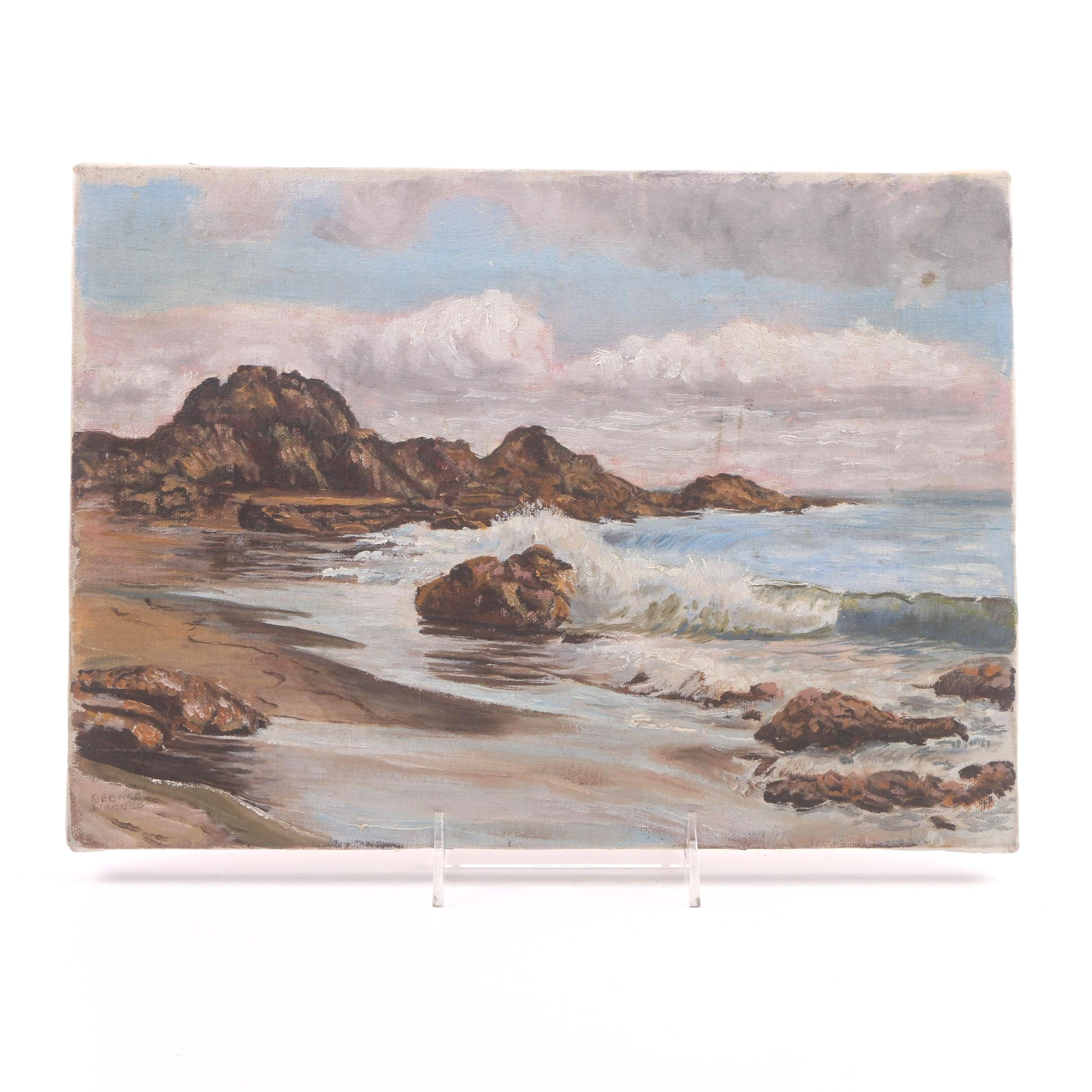 George Wagner Early 20th Century Oil Painting on Canvas of Rocky Seascape