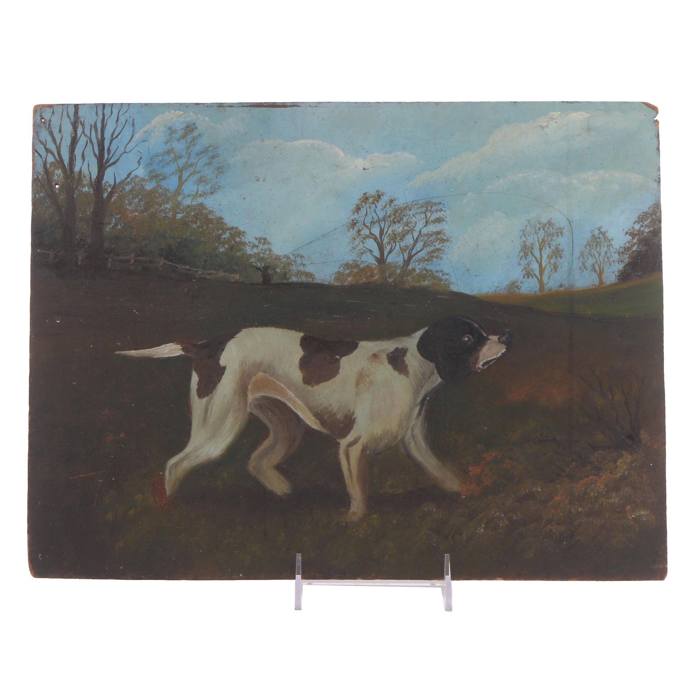 Antique Naïve Oil Painting of a Hunting Dog