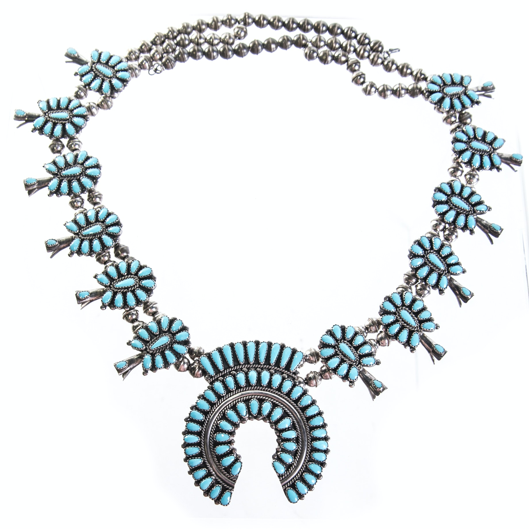 Danny L. Wauneka Navajo Sterling Silver Turquoise Squash Blossom Necklace