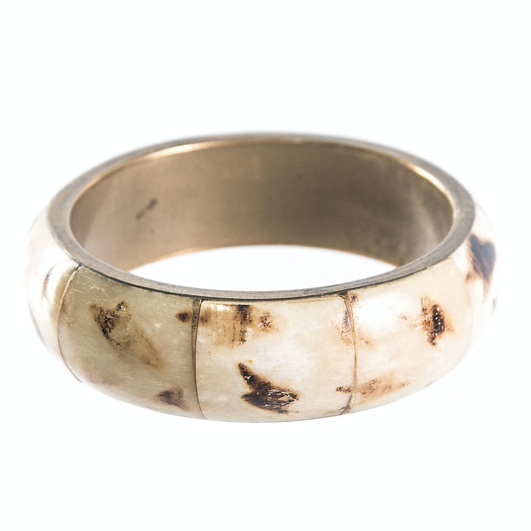 Bone Over Brass Bangle Bracelet