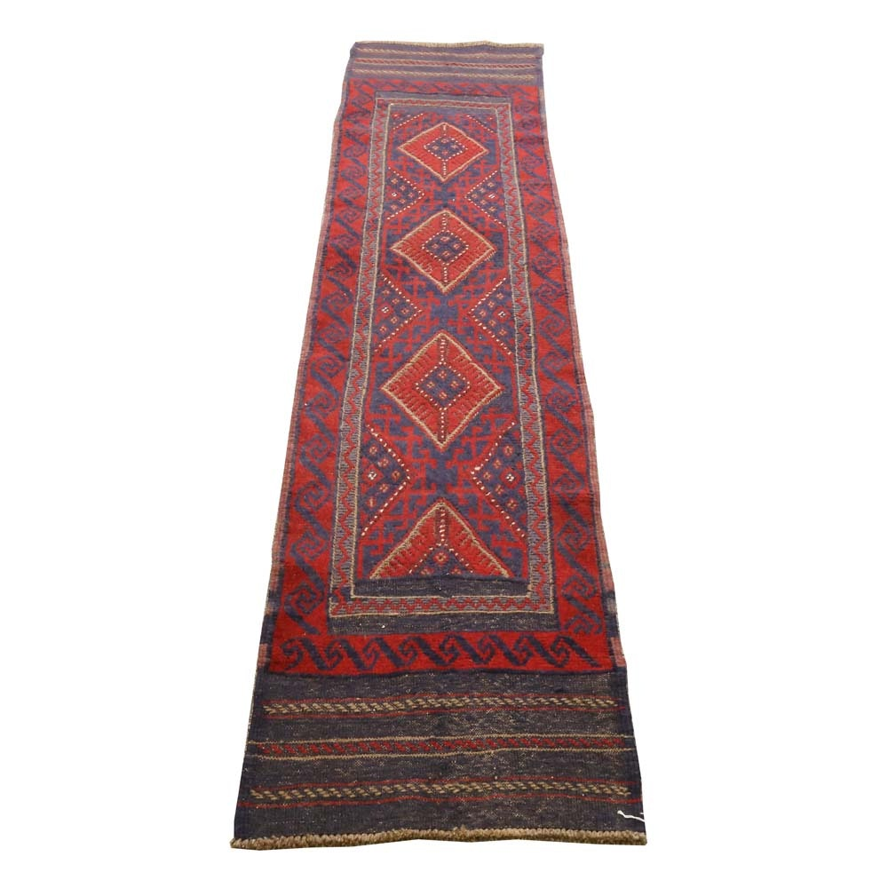 Vintage Hand-Knotted Baluch Wool Runner
