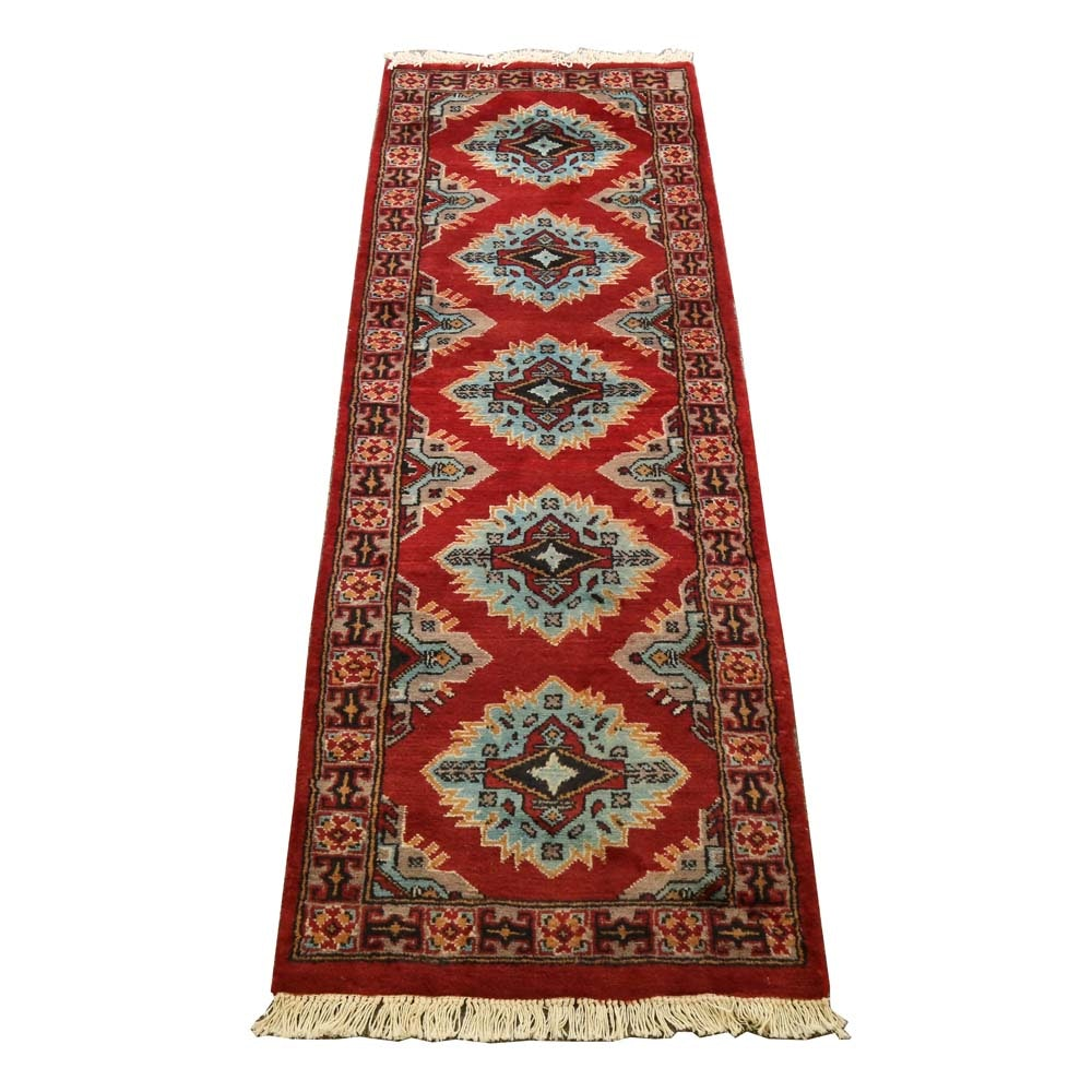 Vintage Hand-Knotted Bokhara Wool Runner