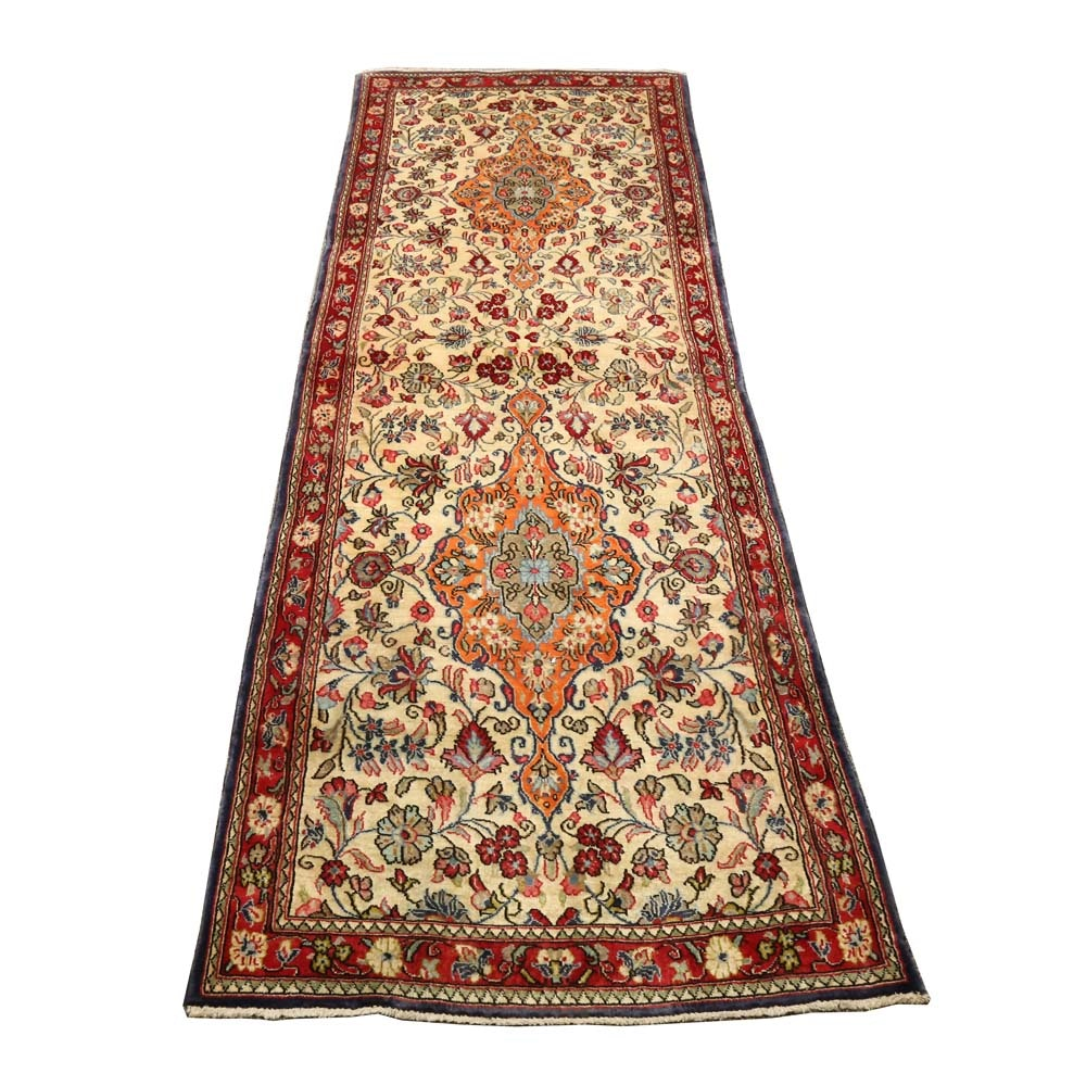 Vintage Hand-Knotted Persian Qum Wool Runner