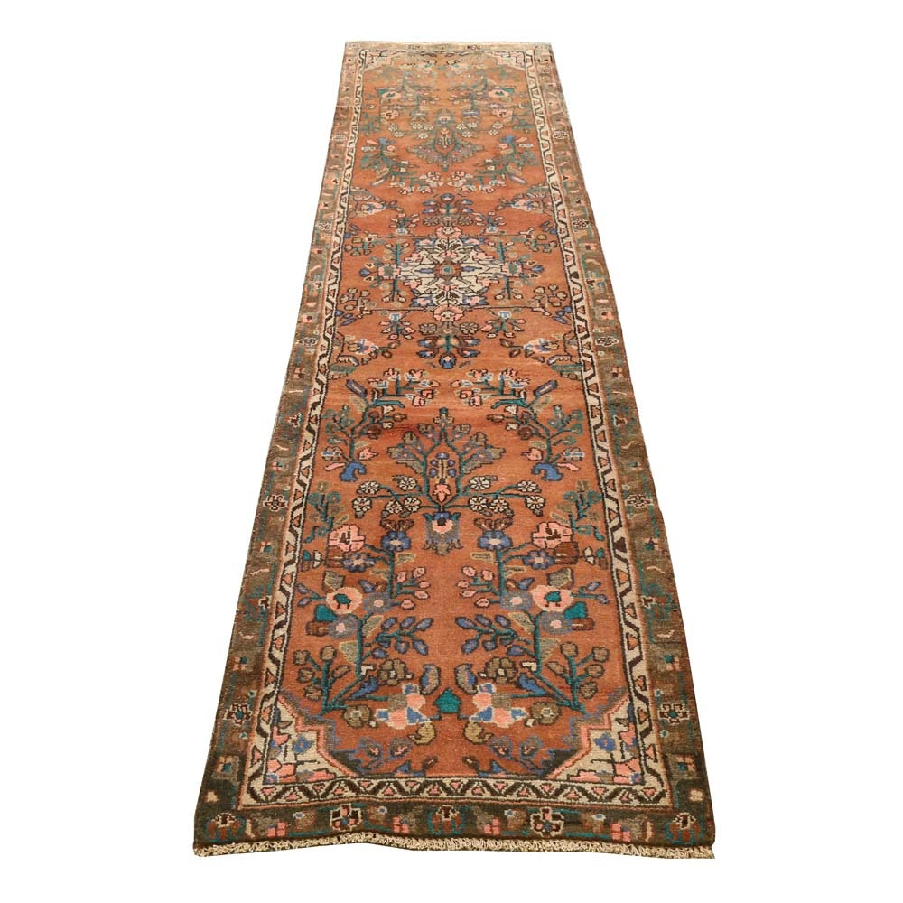 Vintage Hand-Knotted Persian Mallayer Wool Runner