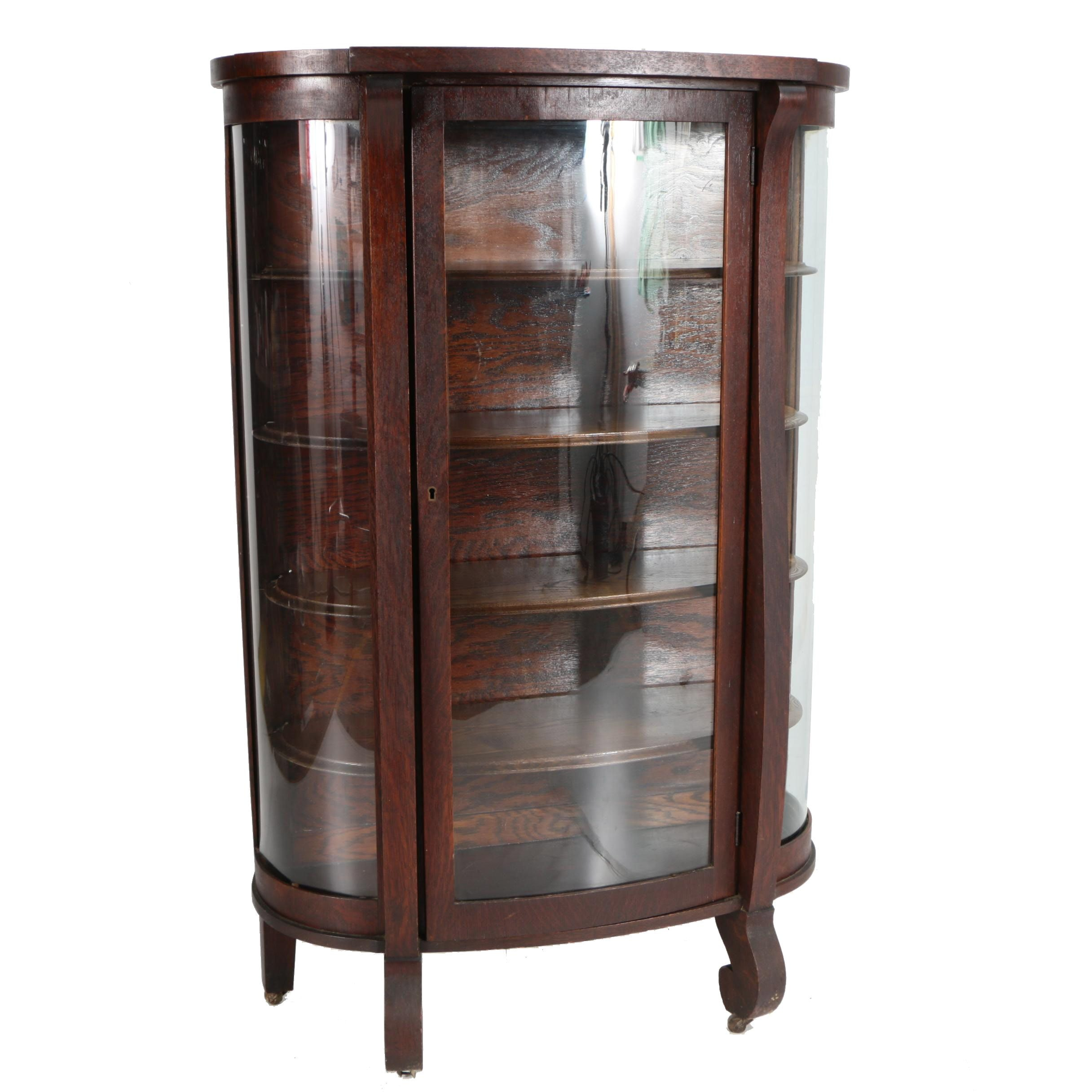 Vintage Empire Style Oak Bow Front Curio Cabinet