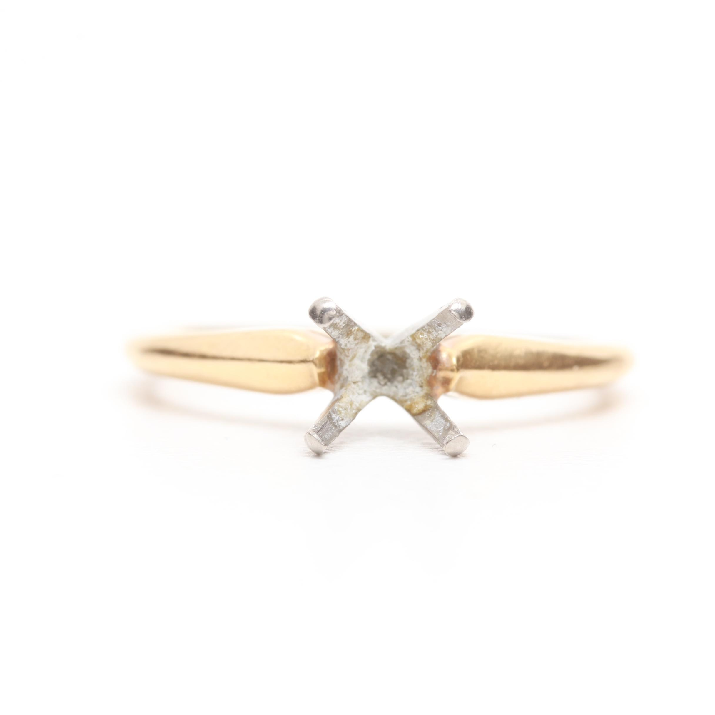 18K Yellow Gold Open Mount Solitaire Ring