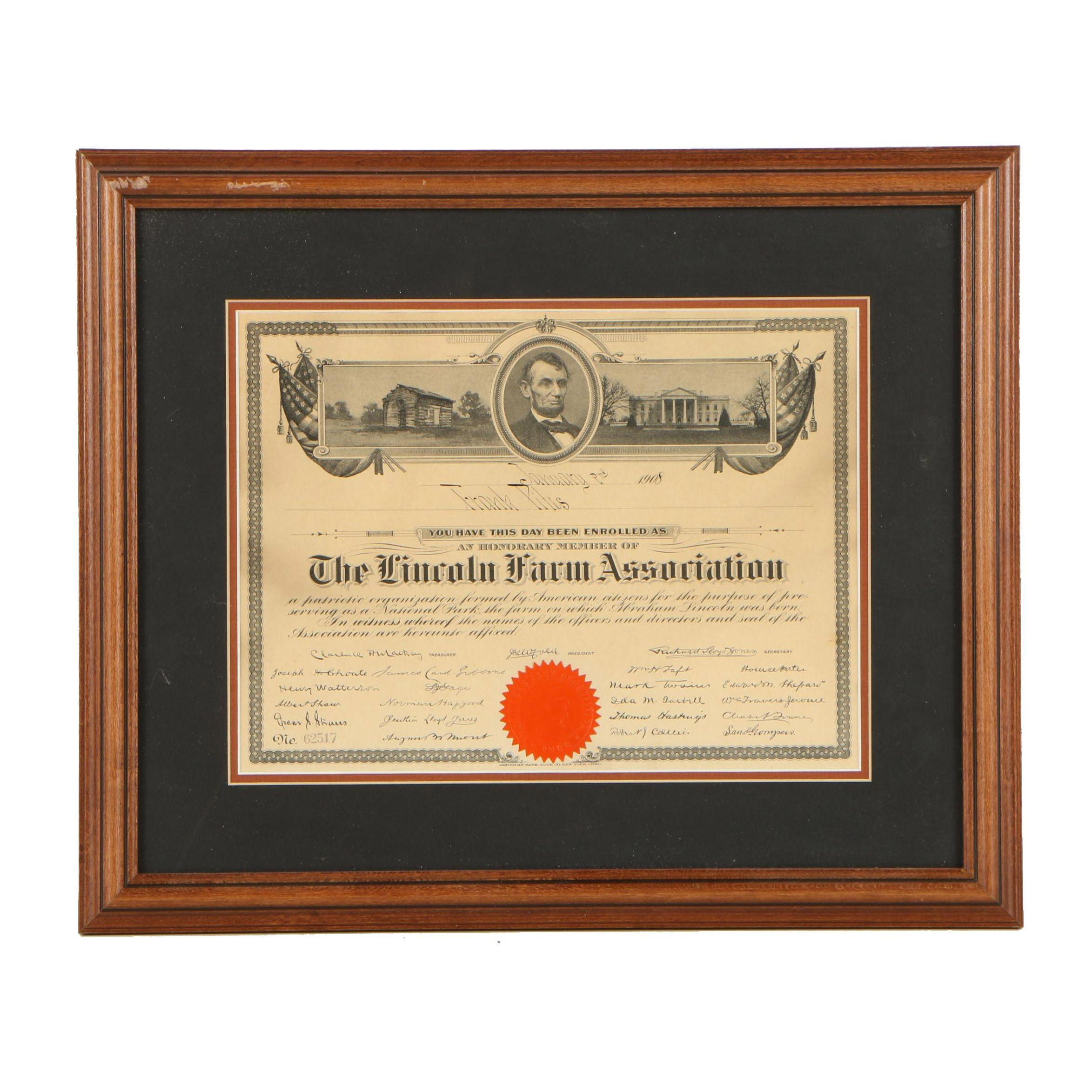1908 Certificate of Honorary Membership to the Lincoln Farm Association