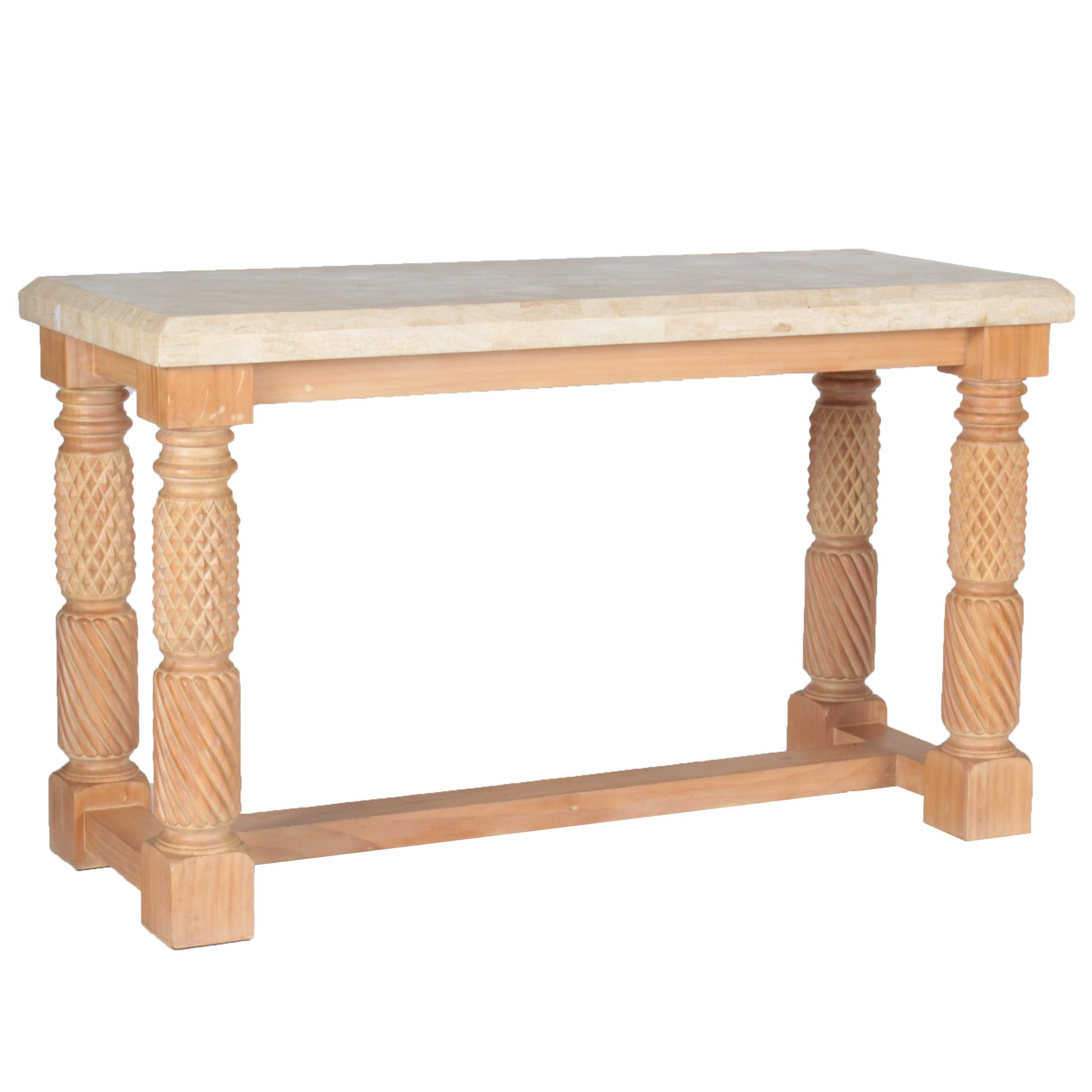 Lexington Furniture Pine Console Table with Stone Top