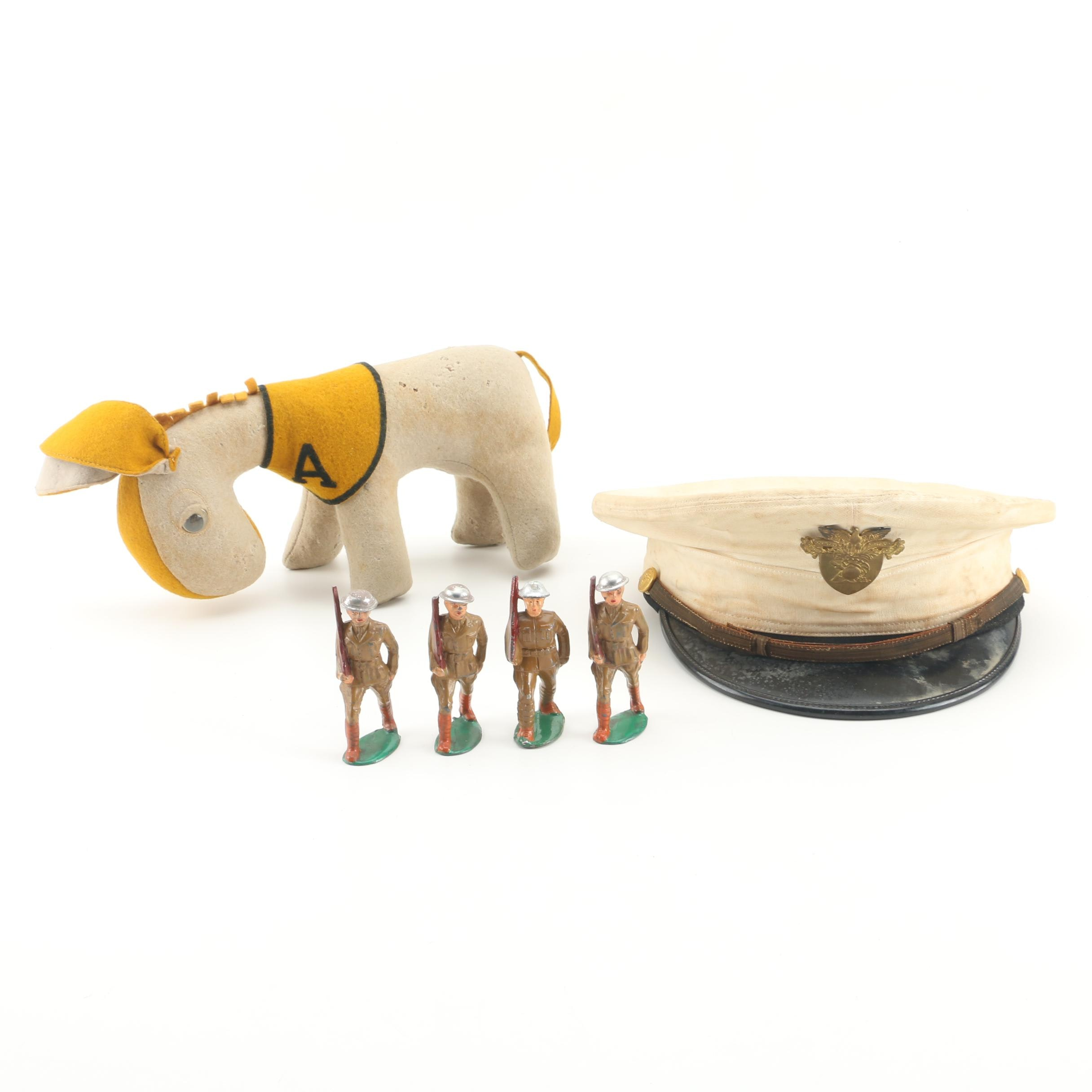 U.S.M.A. West Point Cadet Dress Hat And Army Mule Mascot With Tin Soldiers