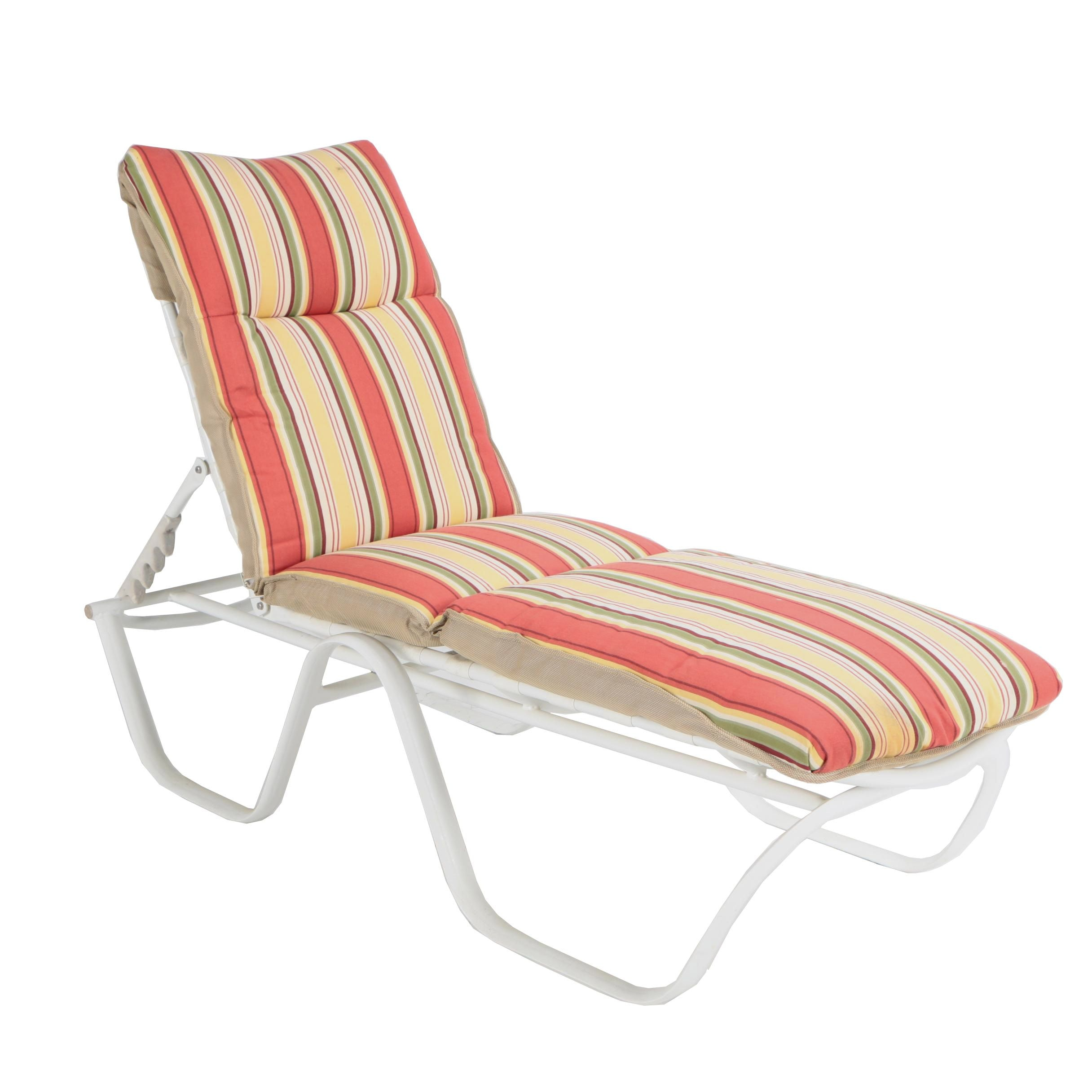 White Metal Patio Chaise Lounge with Striped Cushions