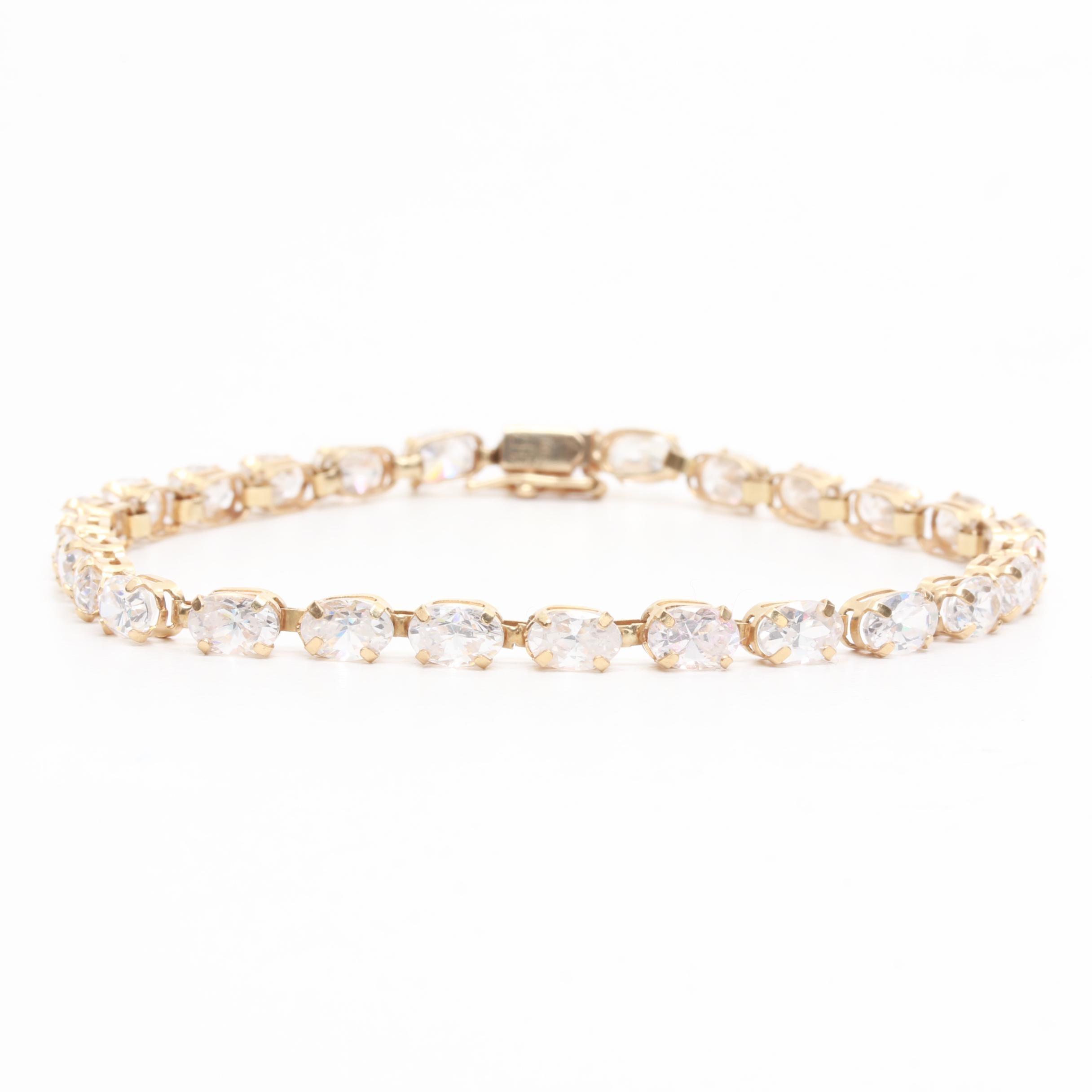 10K Yellow Gold Cubic Zirconia Link Bracelet