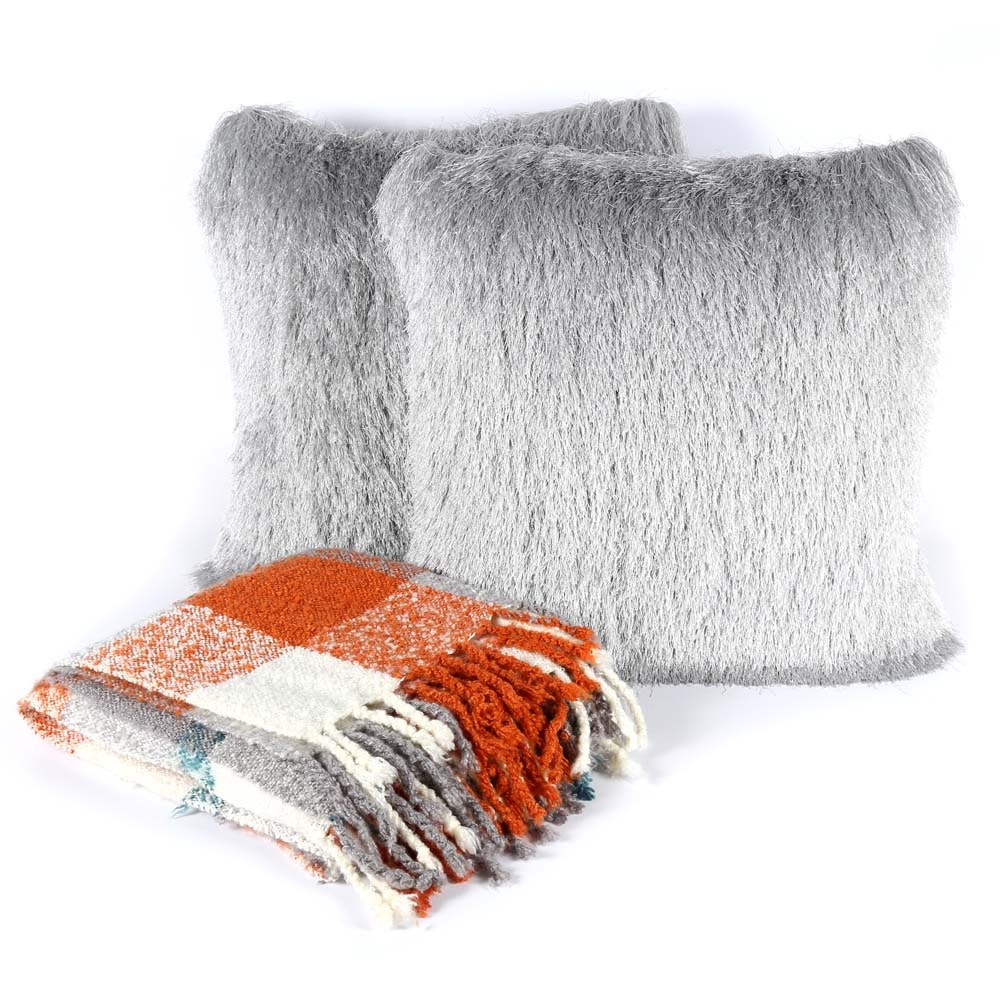 Safavieh Grey Fringe Pillows with Plaid Throw