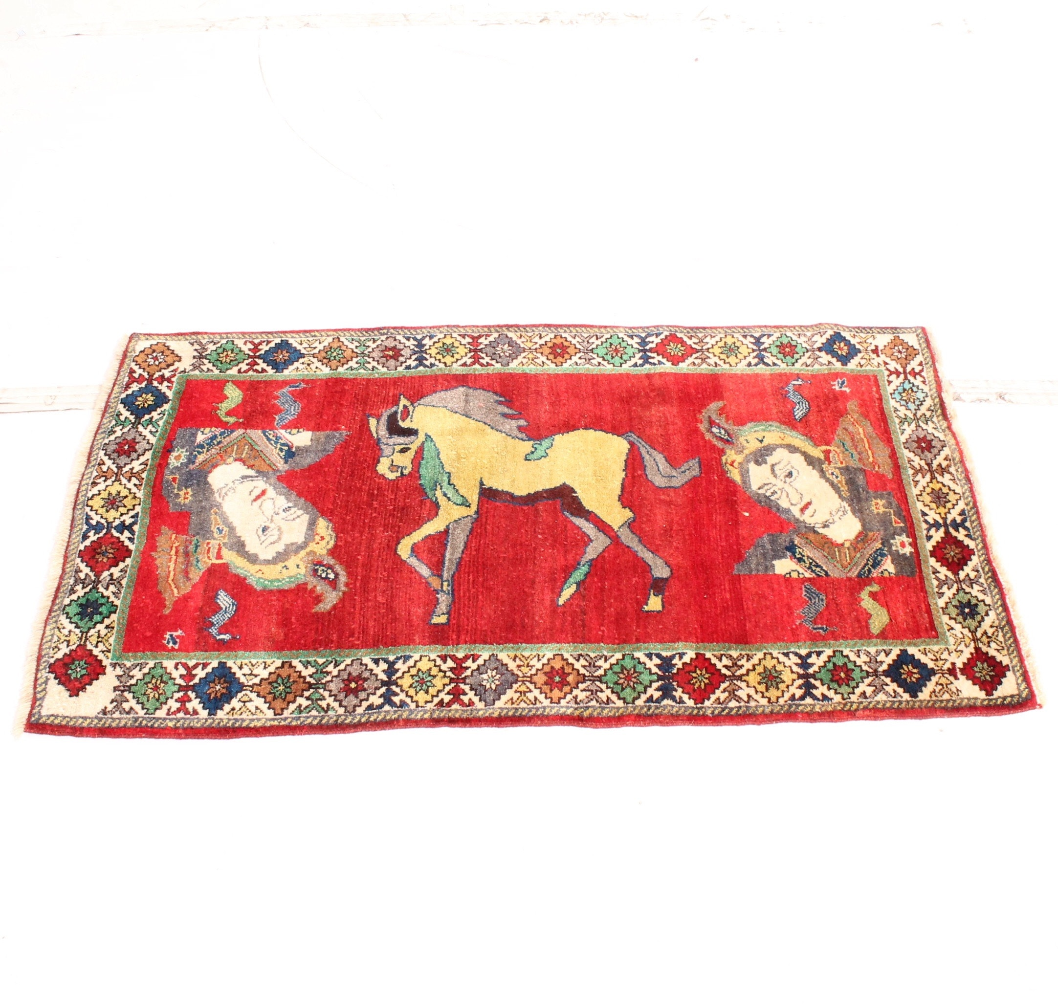 Vintage Hand Knotted Persian Isfahan Pictorial Rug