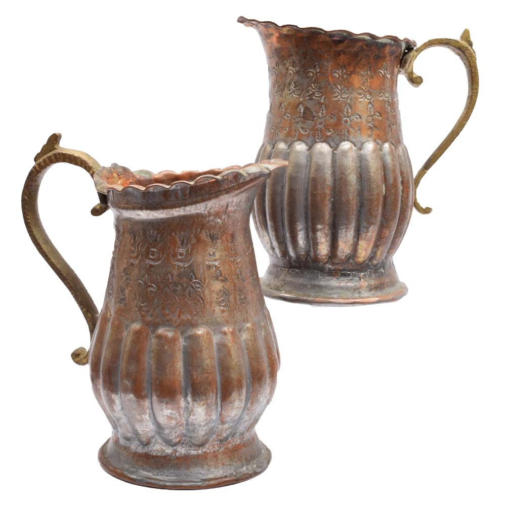 Pair of Vintage Egyptian Embossed Metal & Copper Pitchers