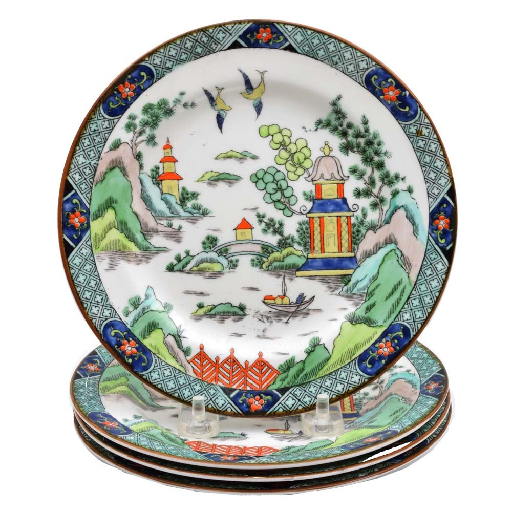 "Crown Staffordshire Bone China ""Ye Olde Willow"" Plates"