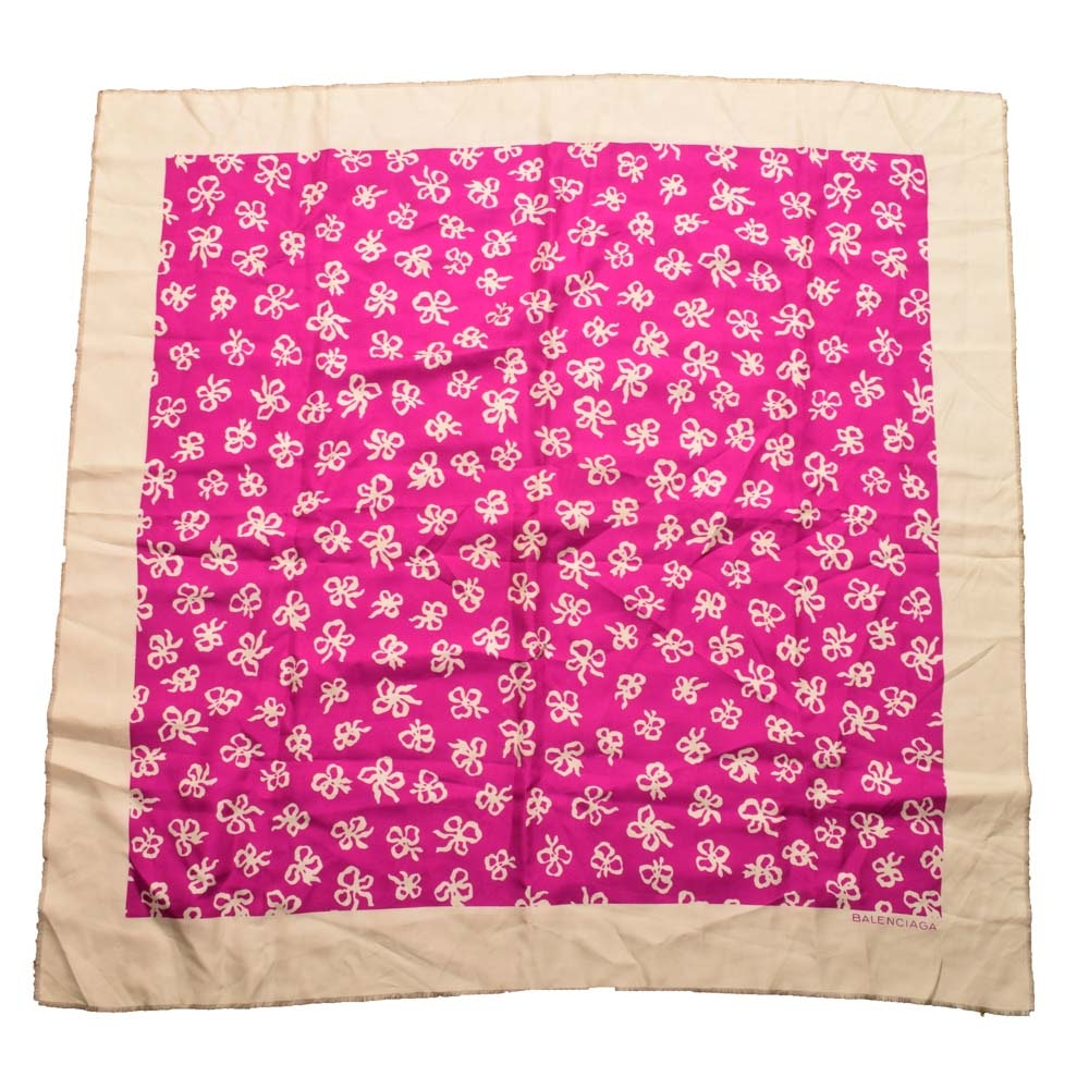 Women's Balenciaga Fuchsia and Beige Silk Scarf
