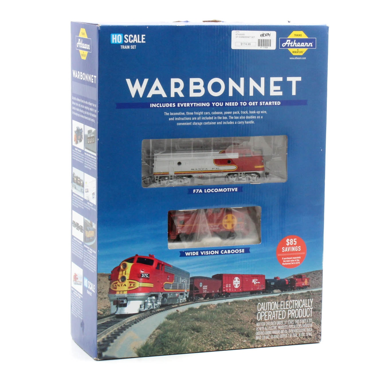 Athearn HO Scale Sante Fe Warbonnet Train Set