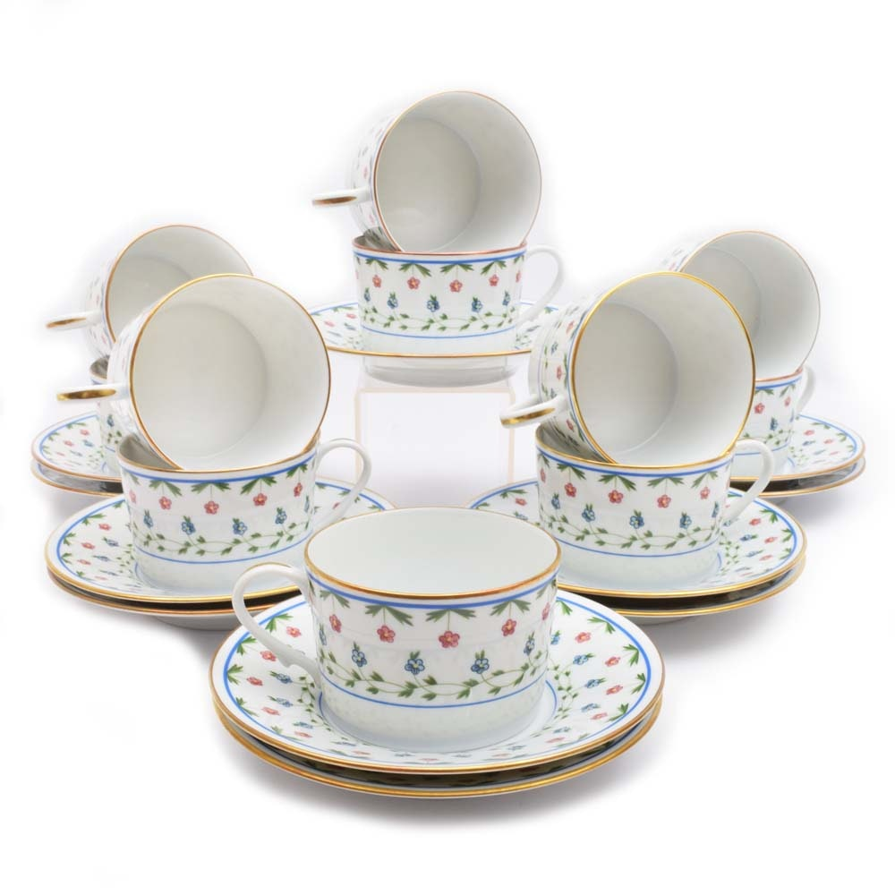 """A. Raynaud Ceralene """"Lafayette"""" Limoges Flat Cups and Saucers"""