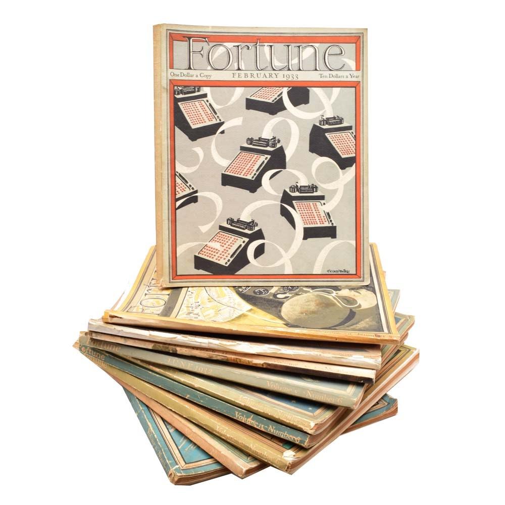 Lot of Ten Vintage Fortune Magazines