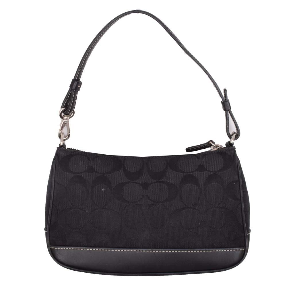 Coach Black Signature Canvas and Leather Baguette Handbag