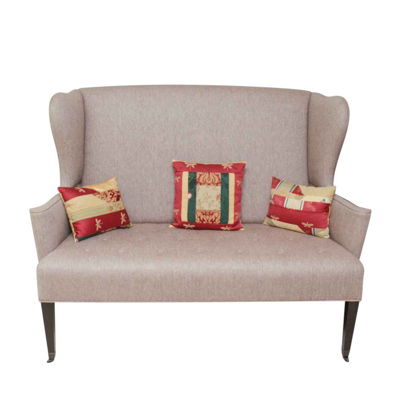 High Back Love Seat with Accent Pillows