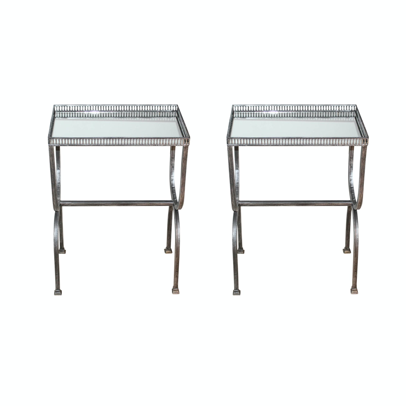 Pair of Mirrored Accent Tables