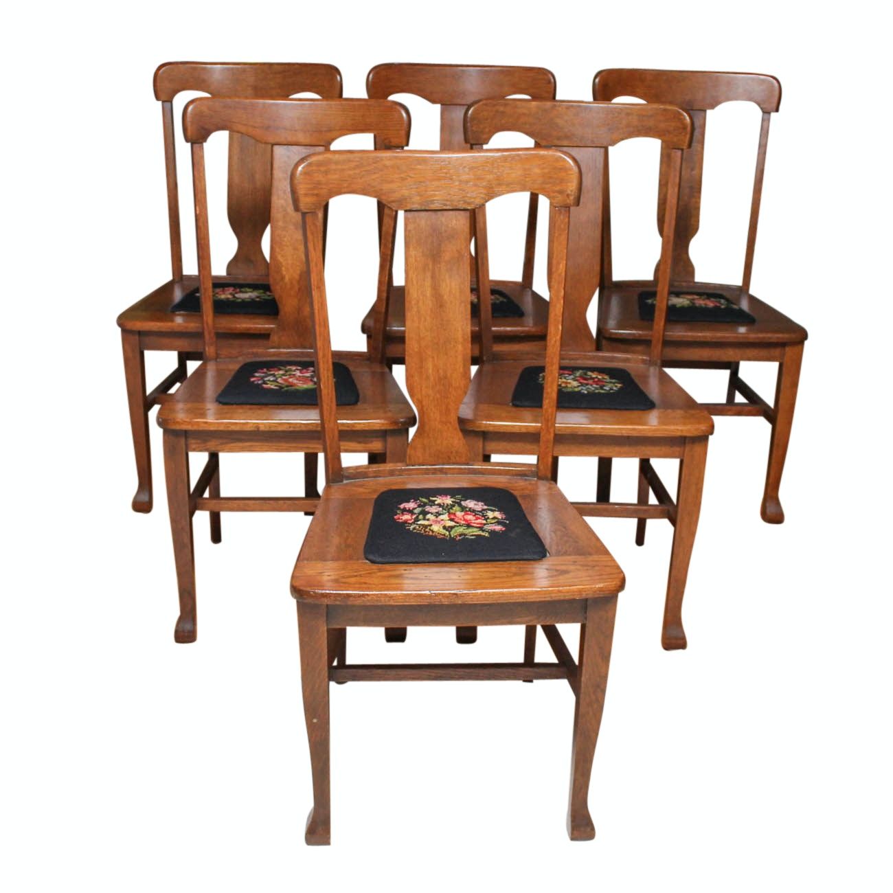Antique Dining Chairs with Needlepoint Seats