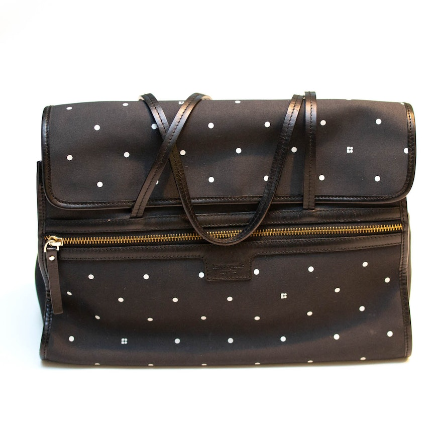 Kate Spade New York Black And White Polka Dot Handbag Trimmed In Leather