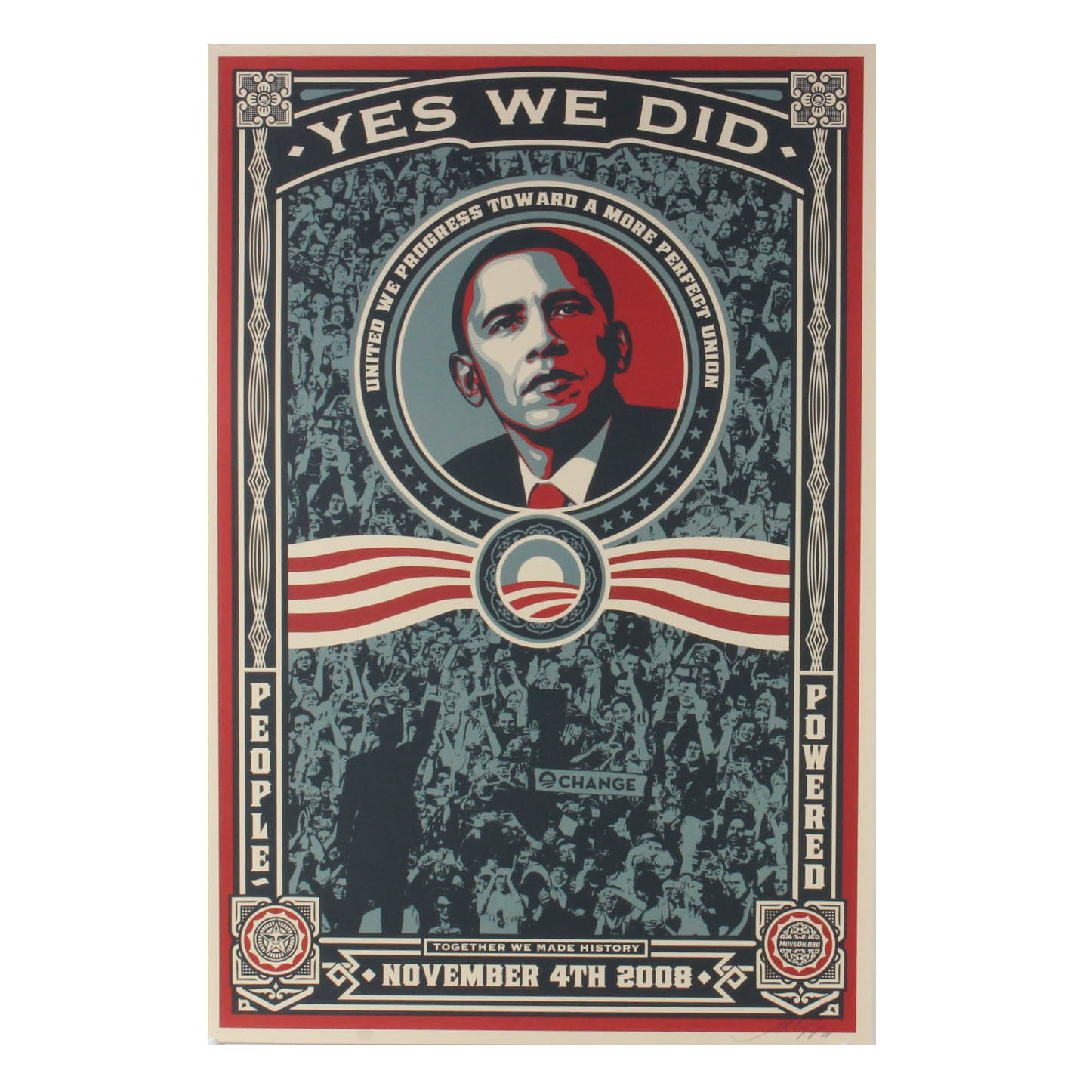 """Shepard Fairey Signed Offset Print """"Yes We Did!"""""""