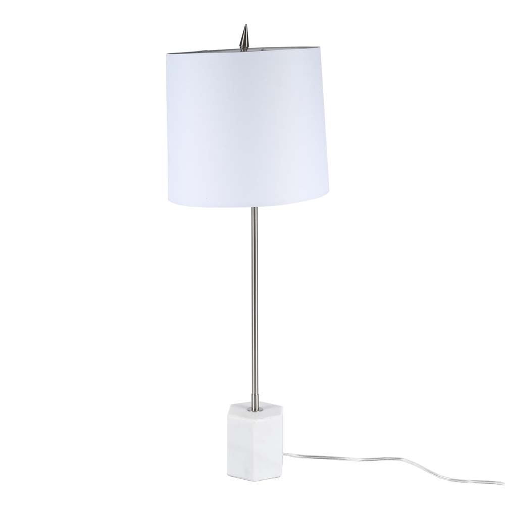 Contemporary Marble and Stainless Steel Table Lamp