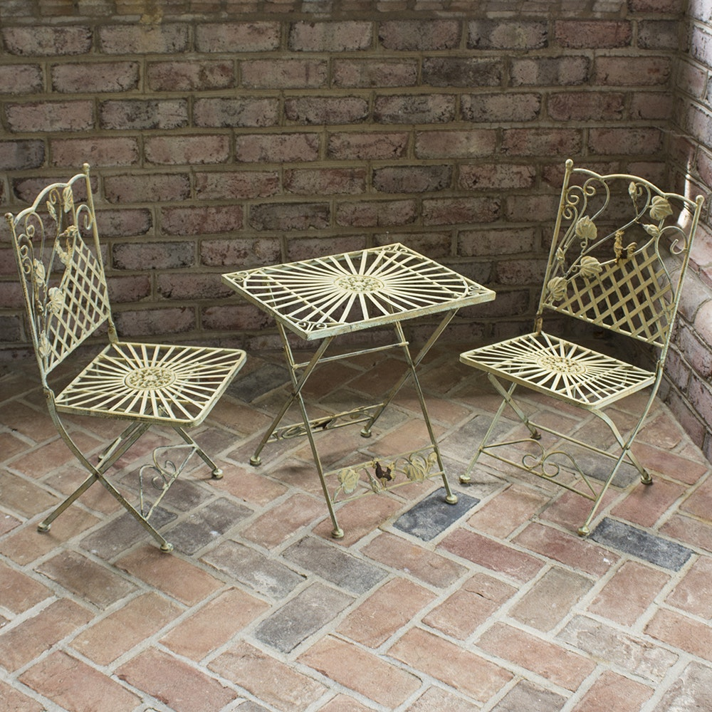 Vintage Painted Metal Children's Bistro Table and Folding Chairs