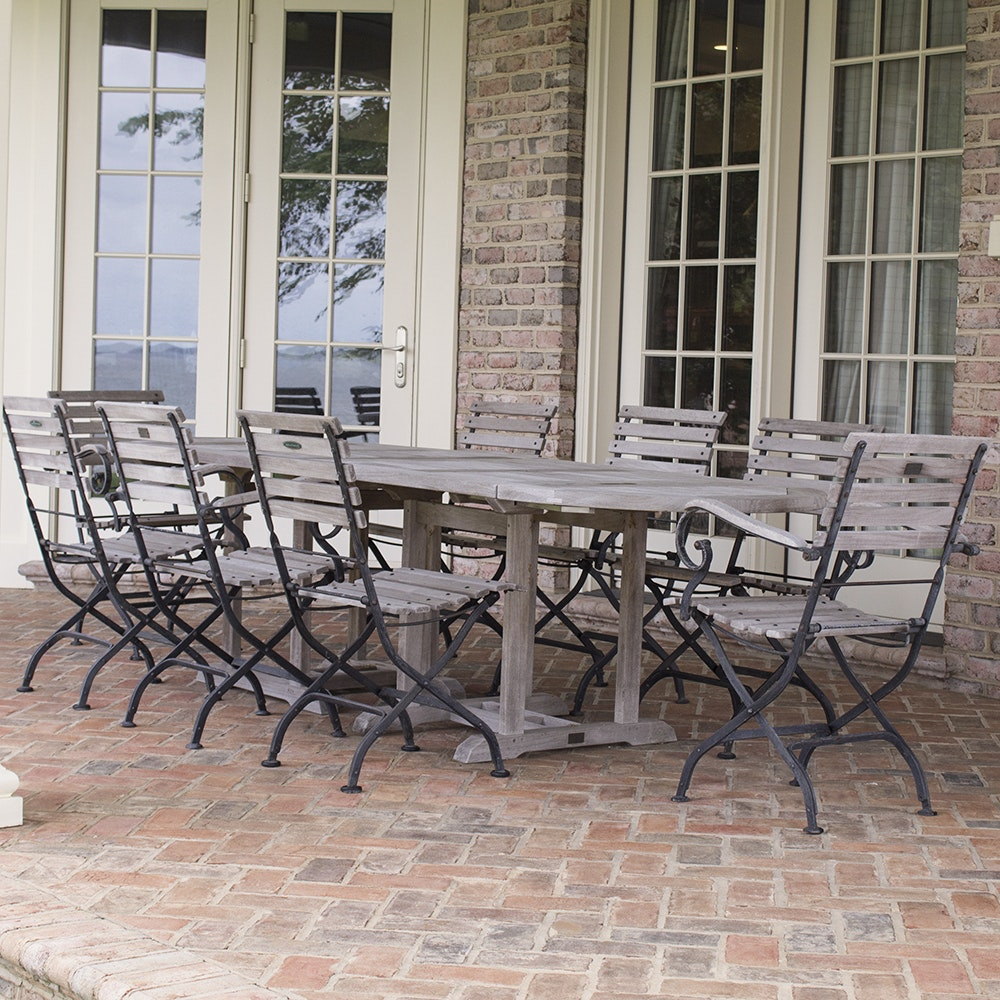 Smith & Hawken Teak Outdoor Dining Table and Chairs With Cast Iron Frames