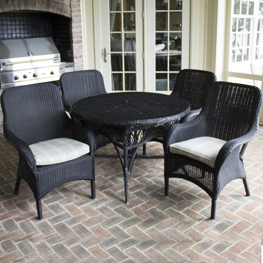 Black Wicker Table With Four Armchairs