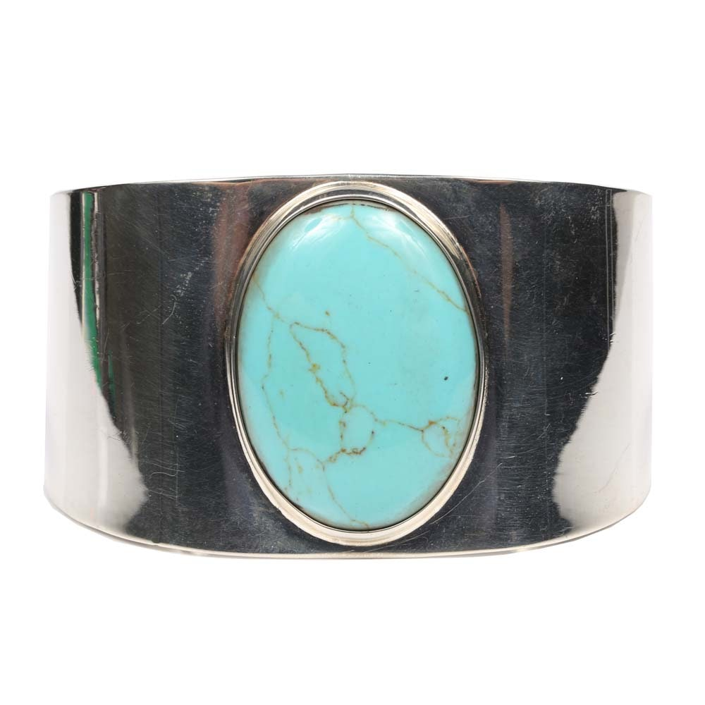 Sterling Silver Synthetic Turquoise Cuff Bracelet