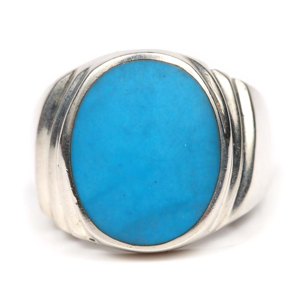 Sterling Silver Synthetic Turquoise Ring