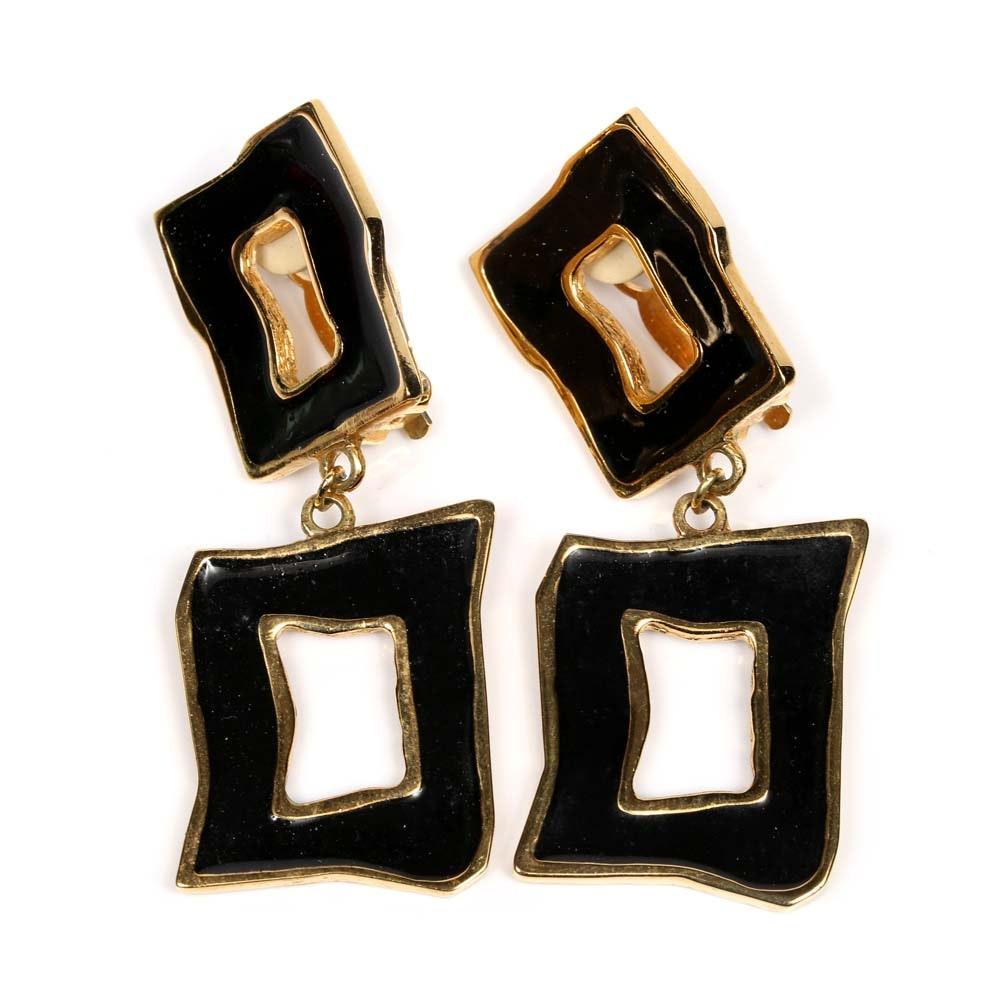 St. John Enamel Dangle Earrings
