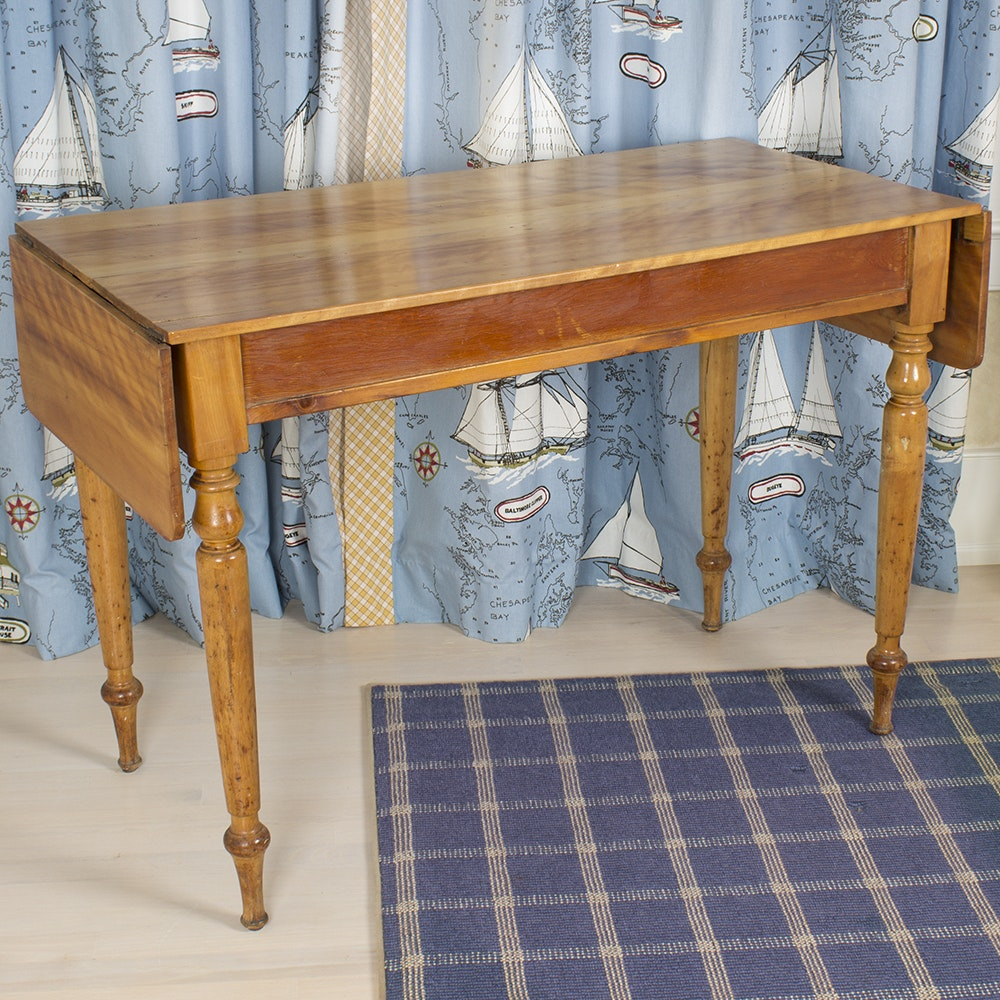 Bookmatched Drop Leaf Console Table