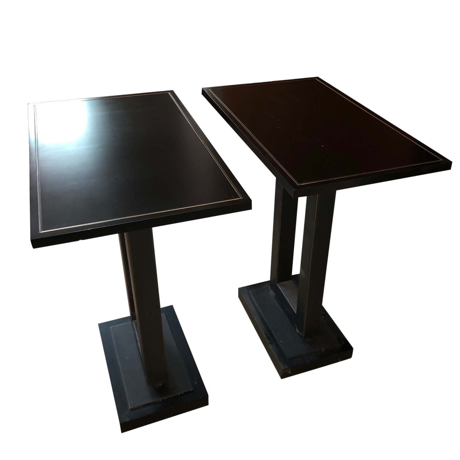 Black Deco Revival Style Pedestal Side Tables