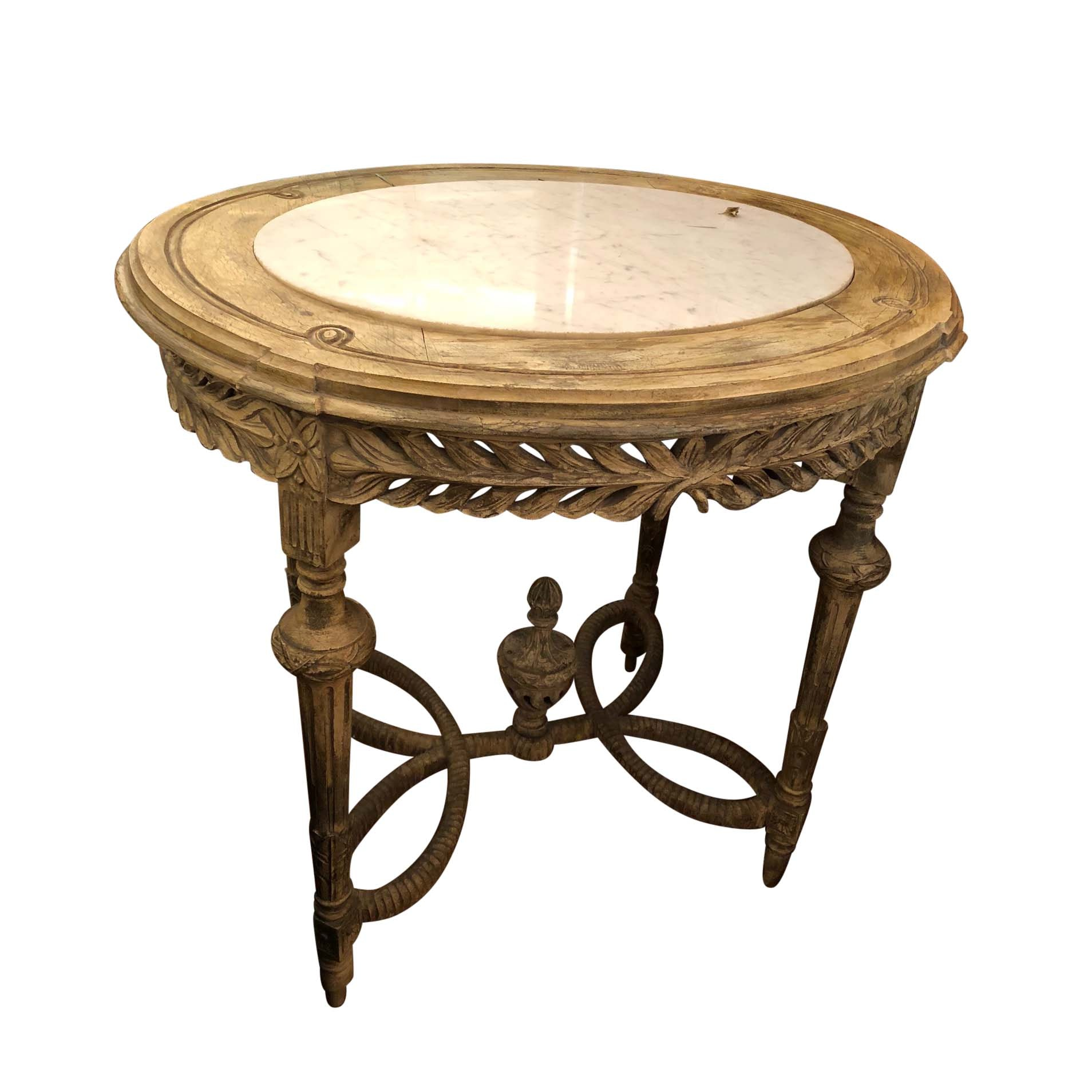 Vintage Louis XVI Style Marble Top Accent Table