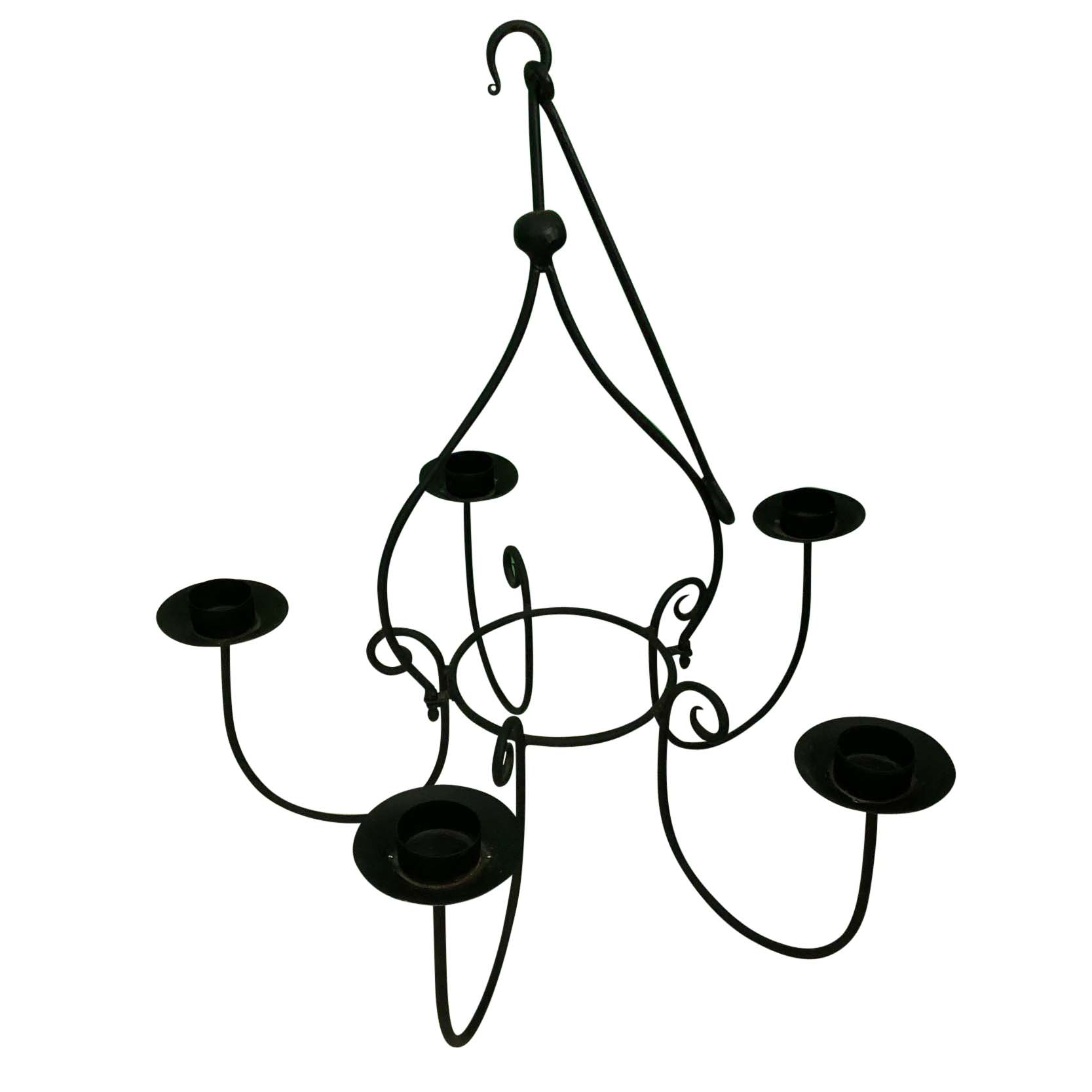 Cast Iron Candleholder Chandelier with Glass Shades