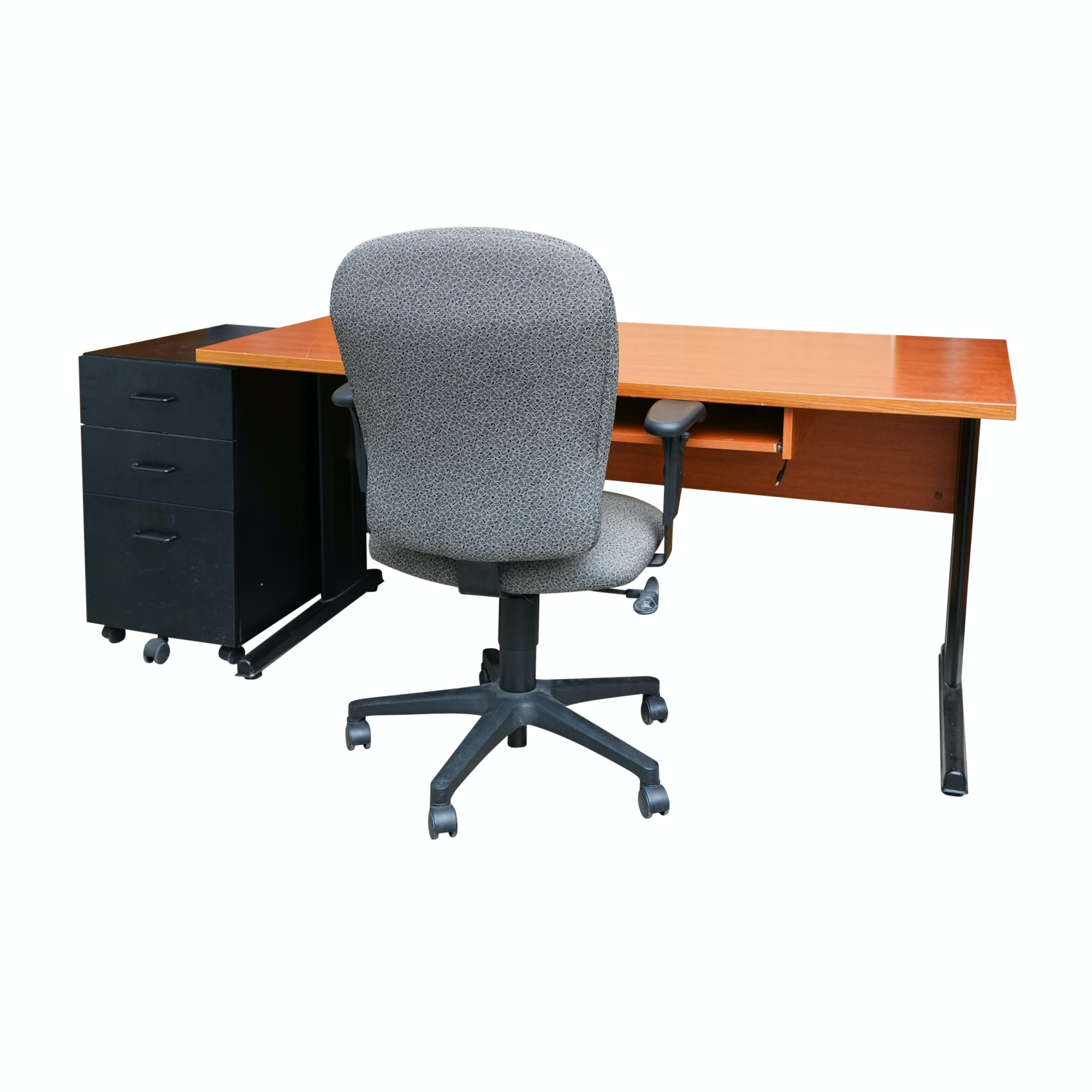 Contemporary Computer Desk with Rolling Office Chair and File Cabinet