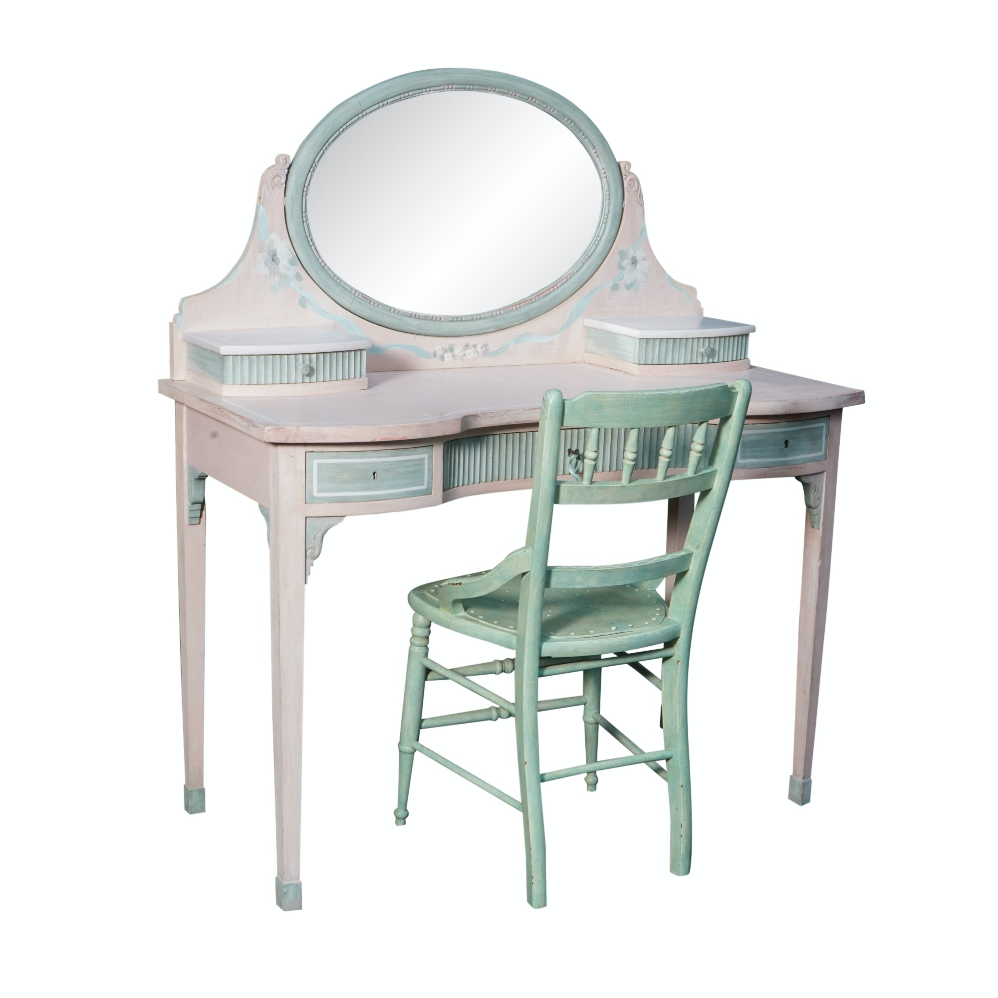 Painted Vanity Table with Chair